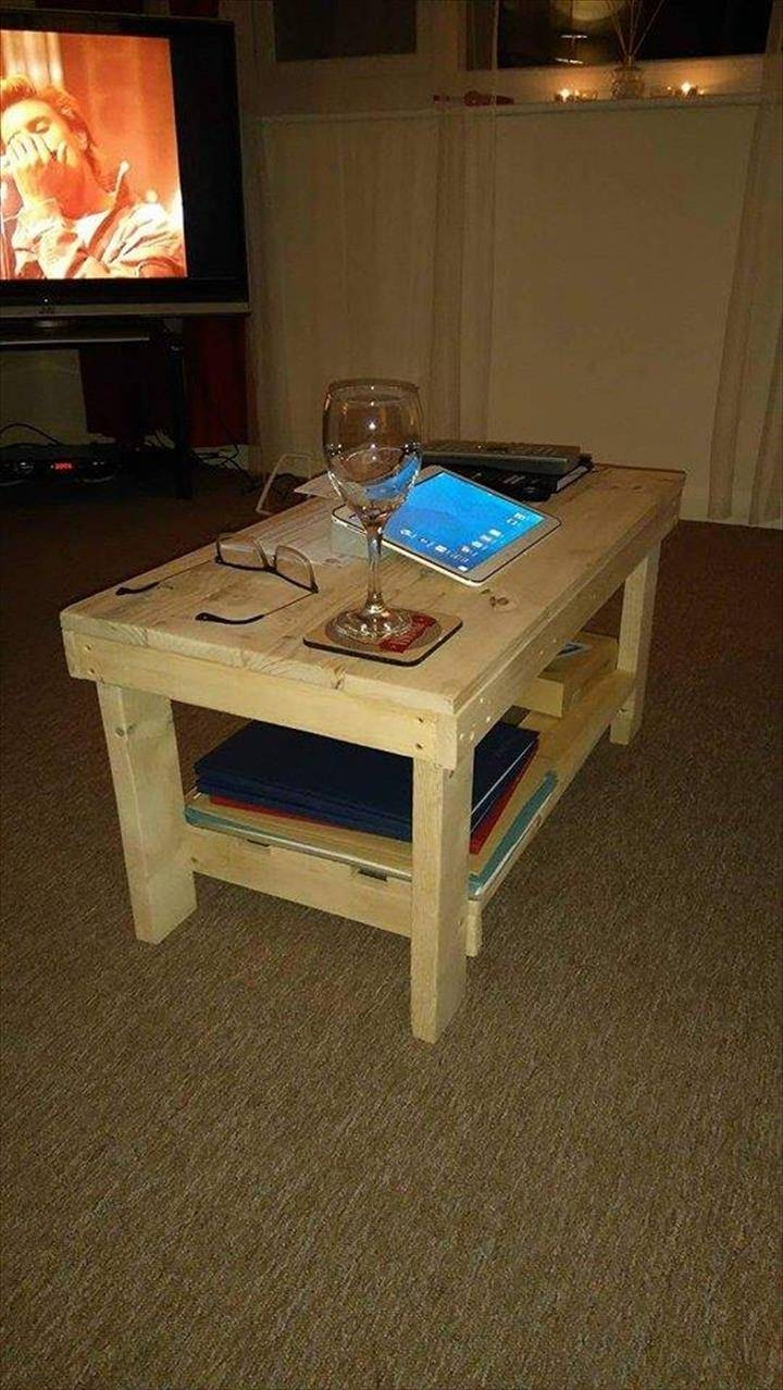 Pallet Coffee Table With Shelf Underneath for Coffee Tables With Shelf Underneath (Image 25 of 30)