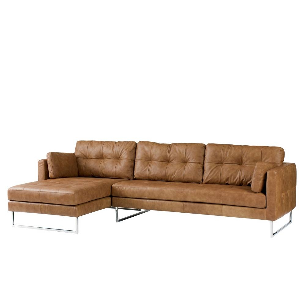 Paris Leather Left Hand Corner Sofa Tan - Dwell with White Leather Corner Sofa (Image 21 of 30)