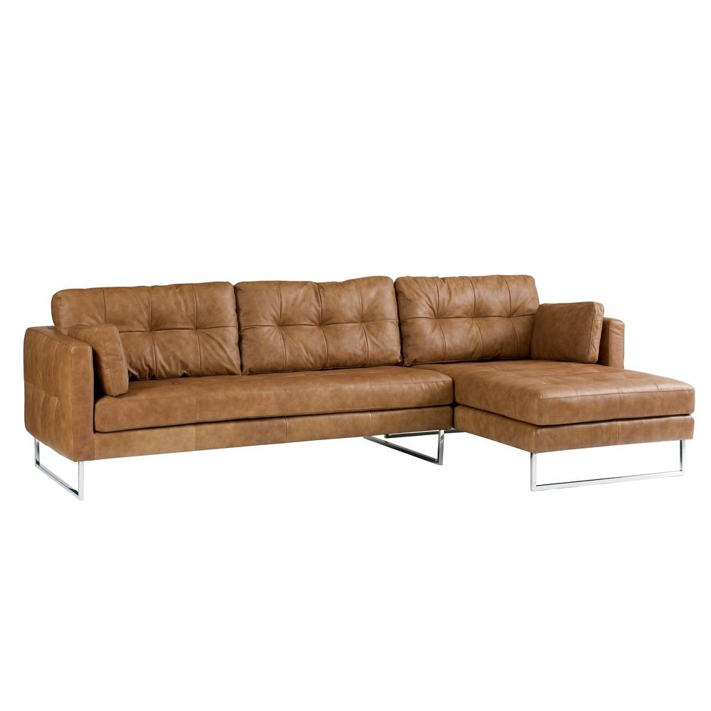 Paris Leather Right Hand Corner Sofa Tan - Dwell throughout Light Tan Leather Sofas (Image 24 of 30)