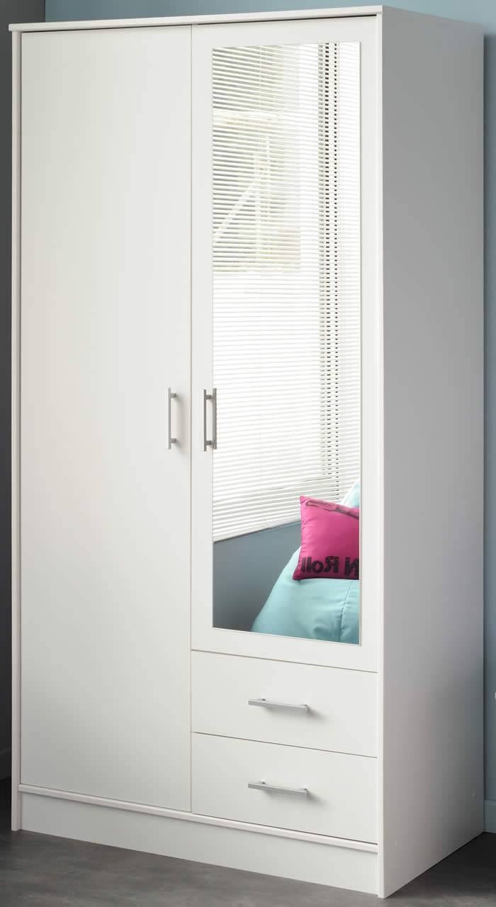 Parisot Infinity Double Wardrobe In White With Mirror inside White Double Wardrobes With Drawers (Image 11 of 15)