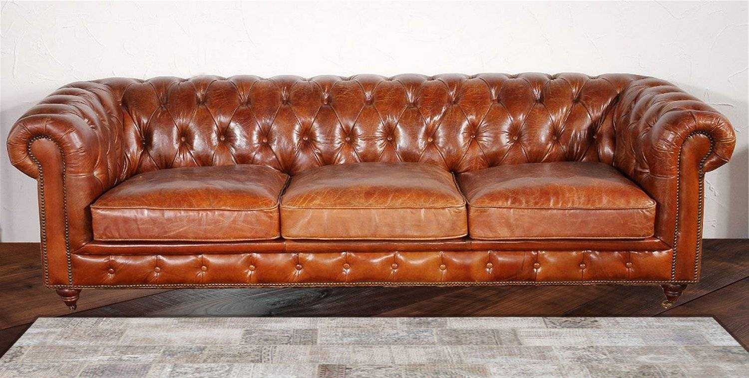 Pasargad Chester Bay Tufted Genuine Leather Chesterfield Sofa throughout Leather Chesterfield Sofas (Image 18 of 30)