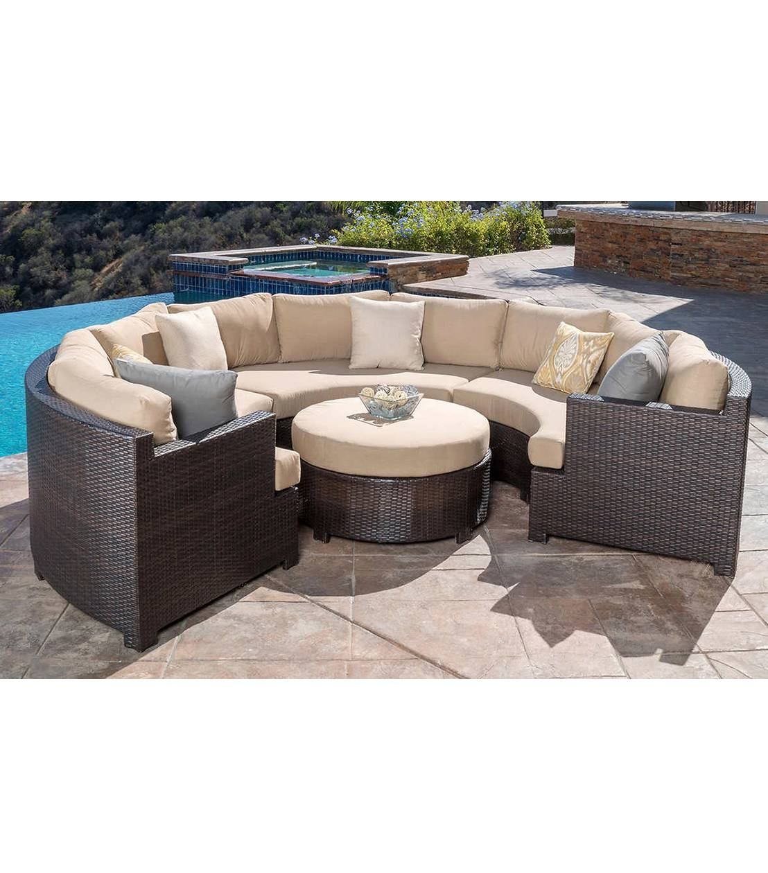 Patio Furniture : Belmont 4-Piece Curved Sectional Set for 6 Piece Modular Sectional Sofa (Image 19 of 30)