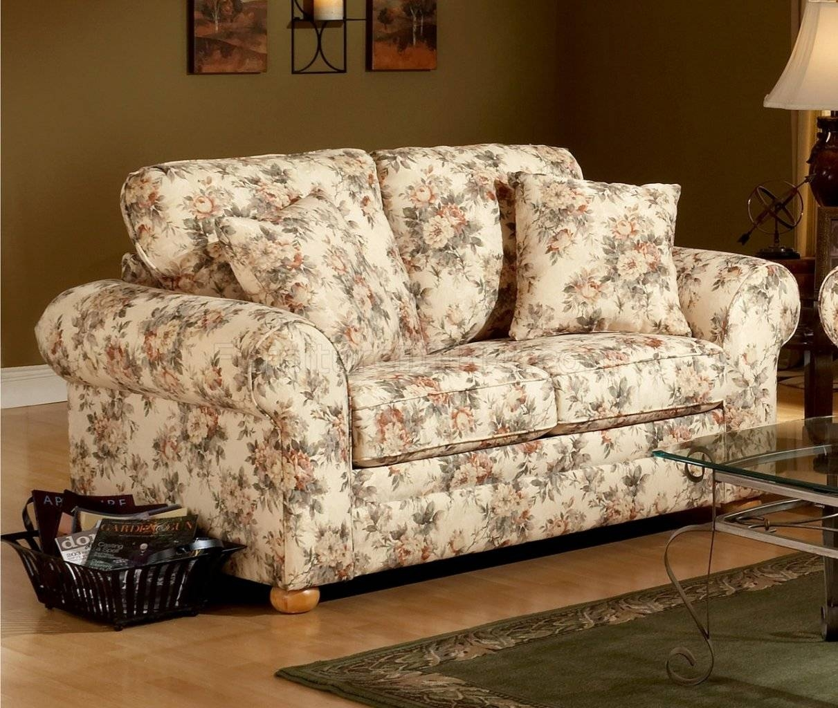 Pattern Fabric Traditional Sofa & Loveseat Set pertaining to Floral Sofas and Chairs (Image 13 of 15)