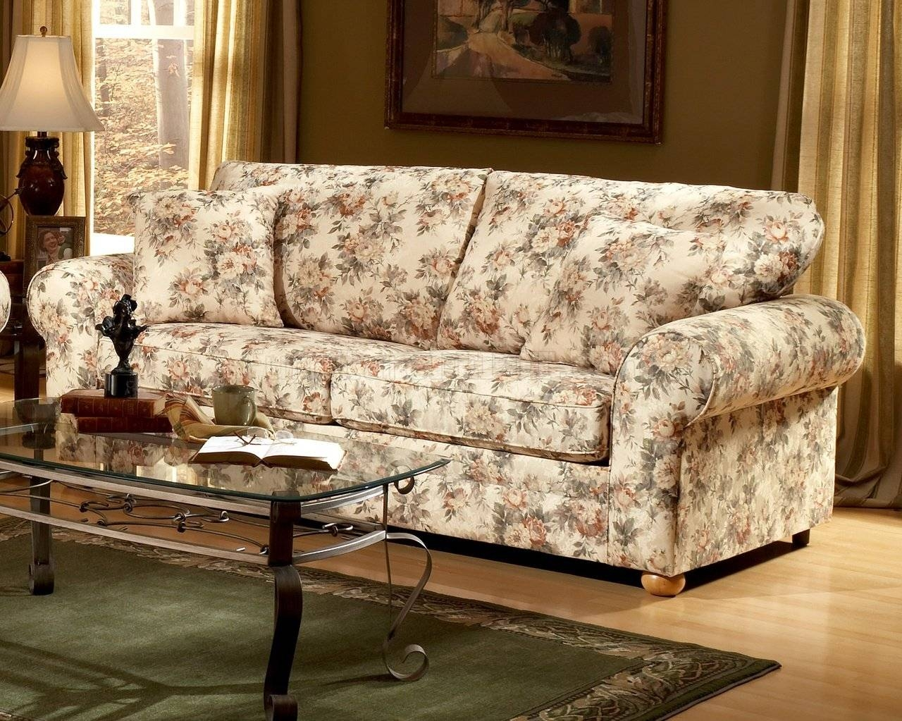 Pattern Fabric Traditional Sofa & Loveseat Set with regard to Floral Sofas and Chairs (Image 14 of 15)