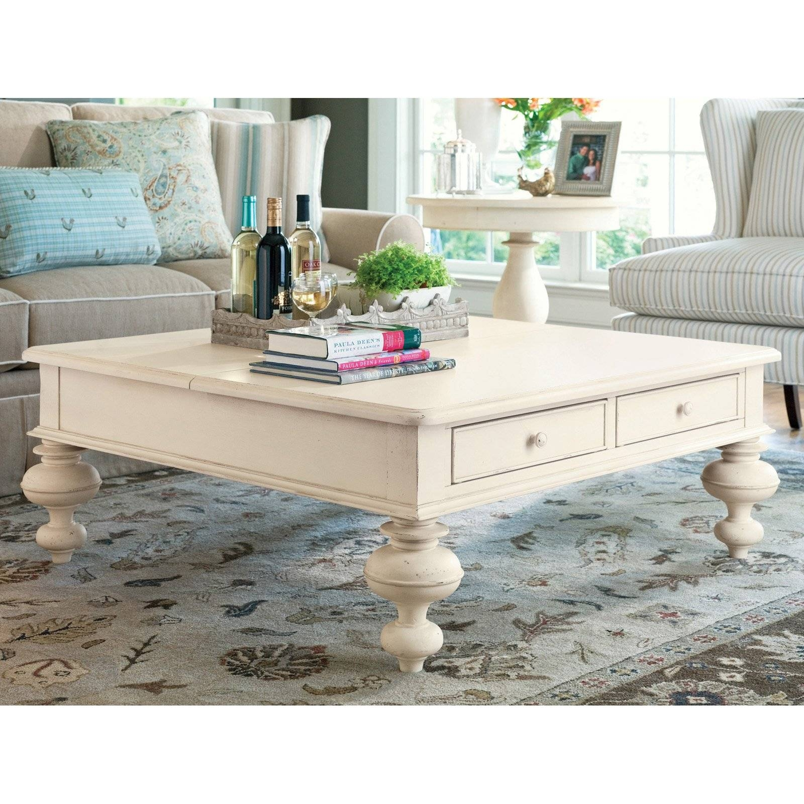 Paula Deen Home Put Your Feet Up Square Linen Wood Lift Top Coffee for Coffee Tables Top Lifts Up (Image 21 of 30)