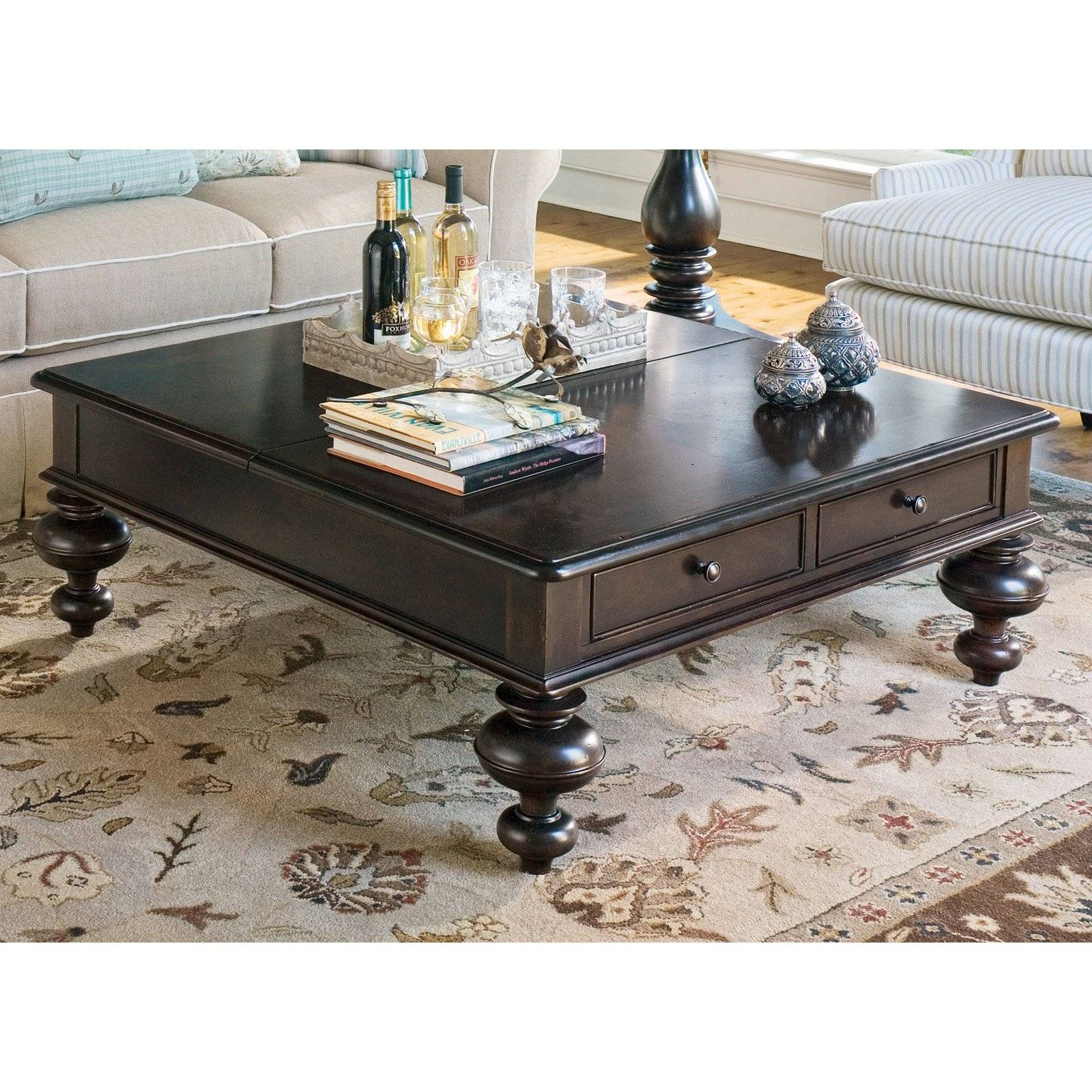 Paula Deen Home Put Your Feet Up Square Linen Wood Lift Top Coffee inside Coffee Tables Top Lifts Up (Image 22 of 30)
