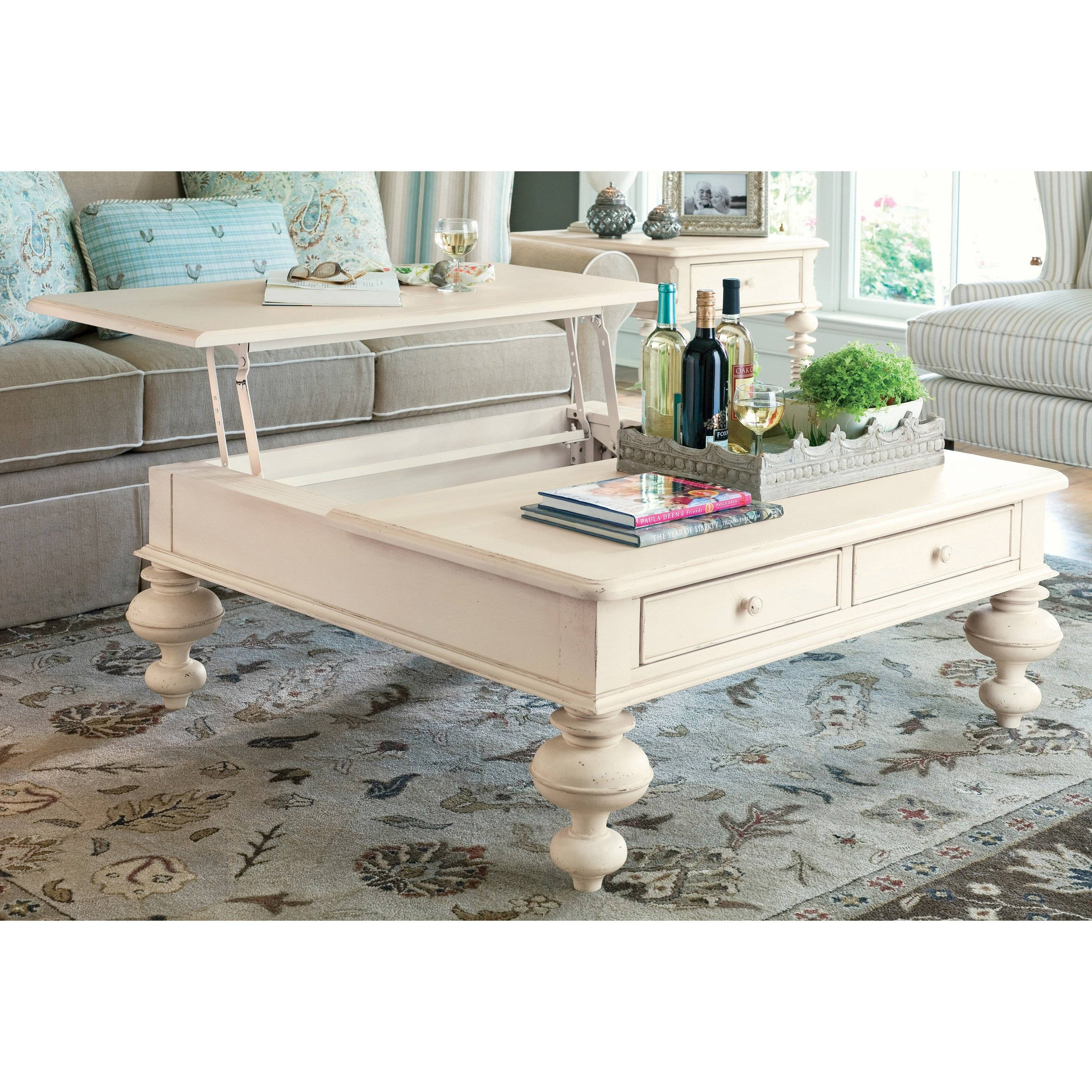 Paula Deen Home Put Your Feet Up Square Linen Wood Lift Top Coffee intended for Lift Up Top Coffee Tables (Image 22 of 30)