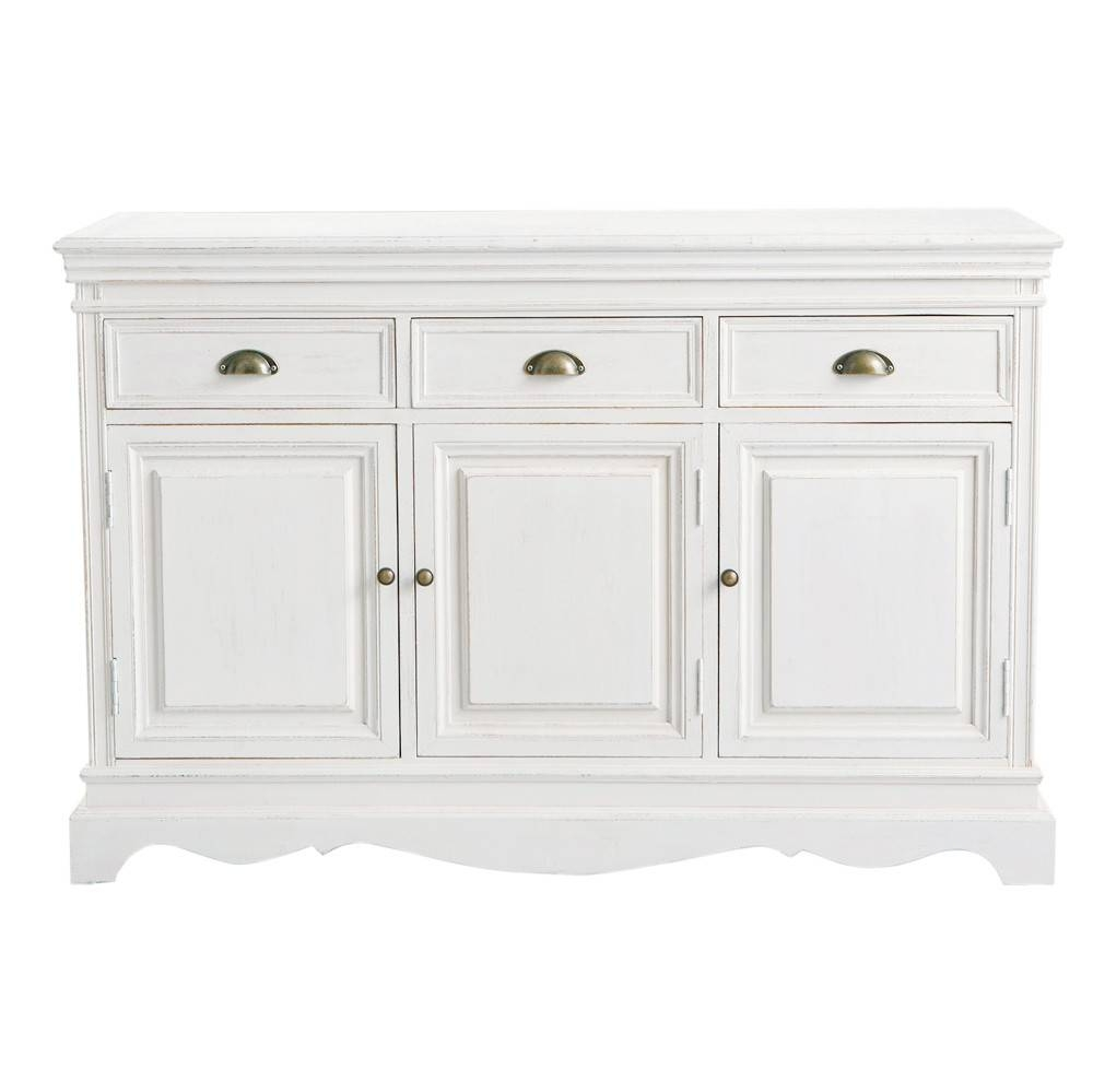 Paulownia Sideboard In White Joséphine | Maisons Du Monde with regard to White Wooden Sideboards (Image 13 of 30)