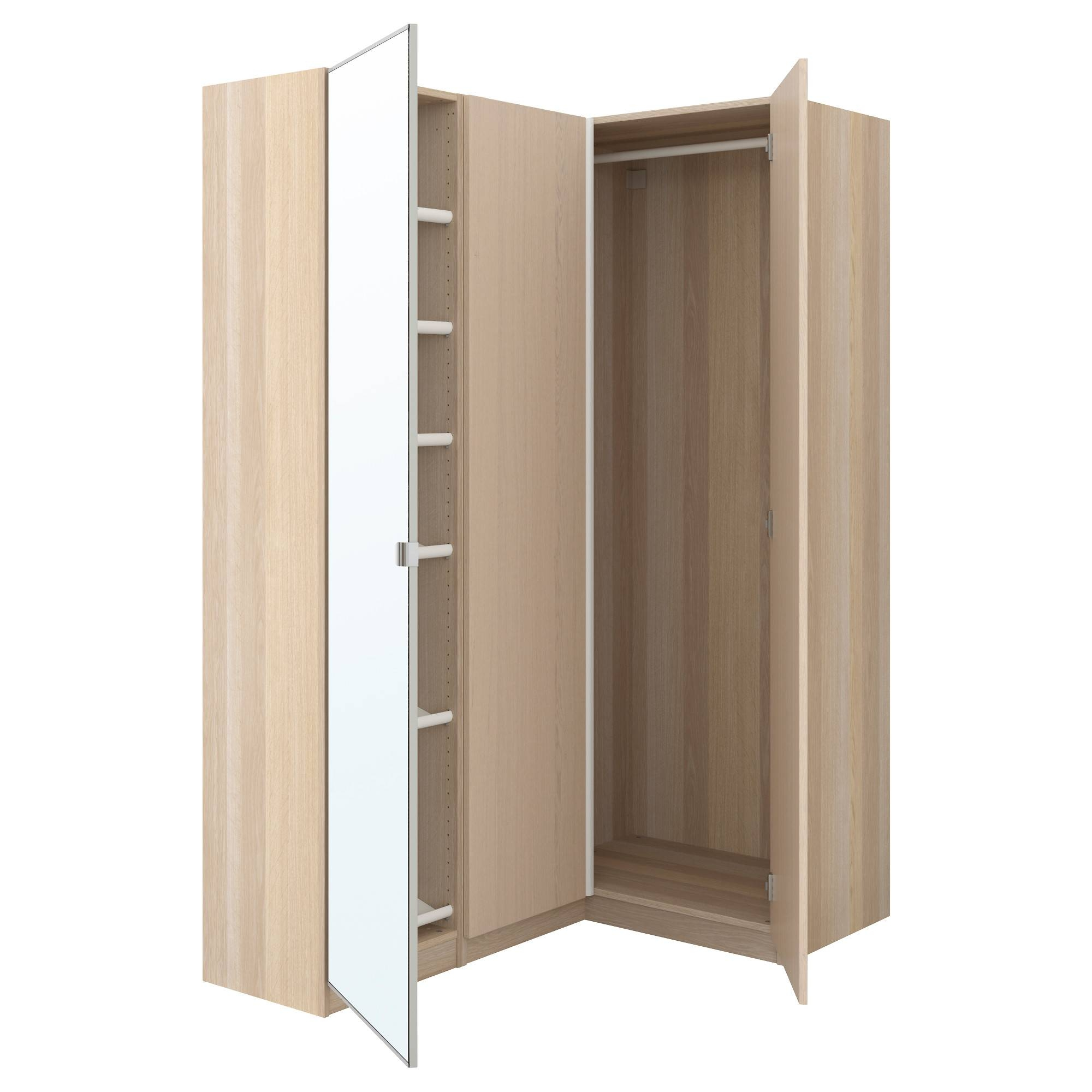 Pax Corner Wardrobe White Stained Oak Effect/nexus Vikedal 160 intended for Oak Corner Wardrobes (Image 11 of 15)