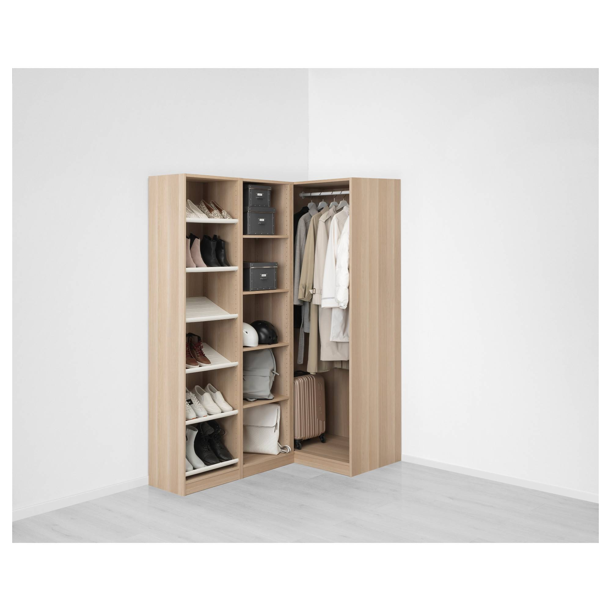 Pax Corner Wardrobe White Stained Oak Effect/nexus Vikedal 160 regarding Oak Corner Wardrobes (Image 12 of 15)