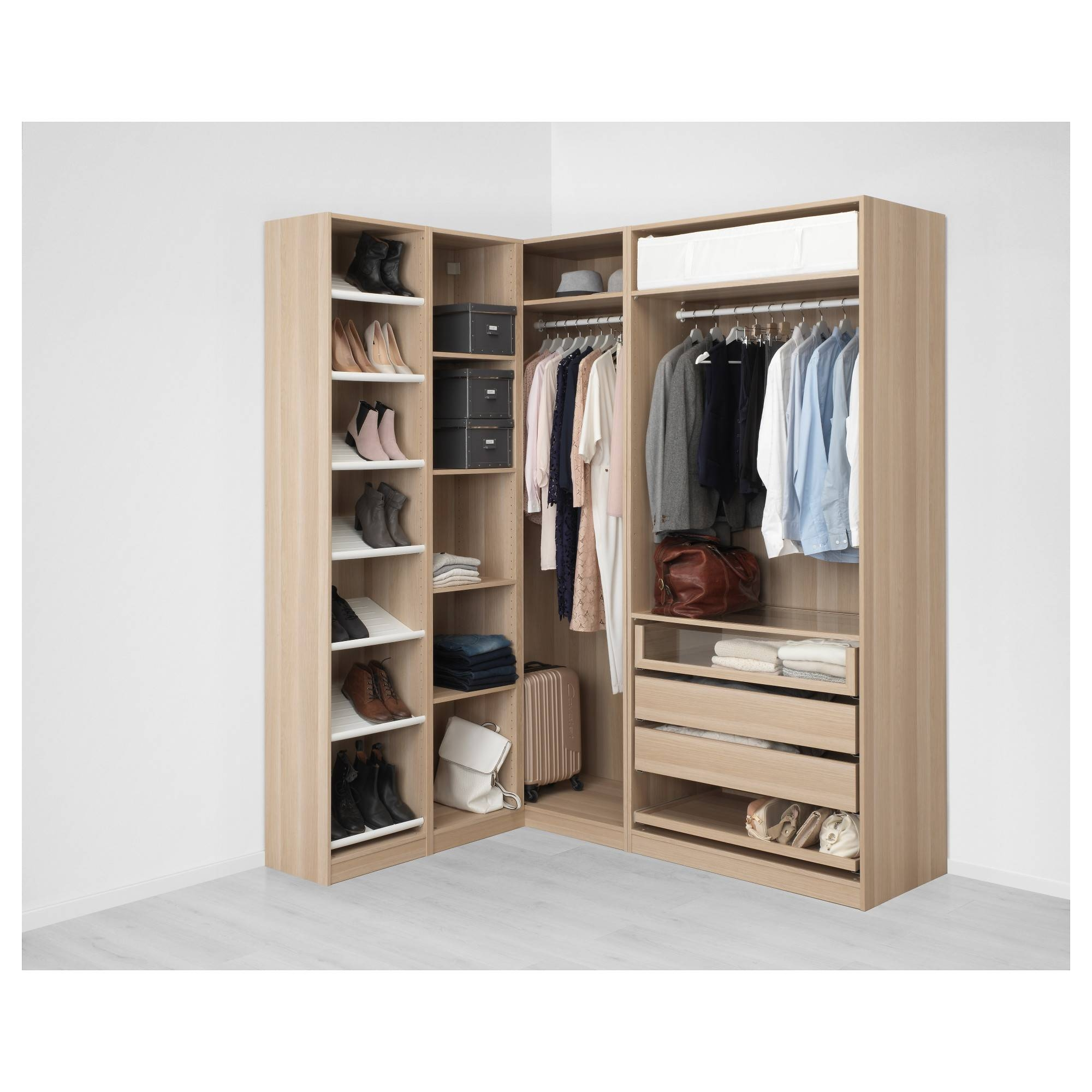 Pax Corner Wardrobe White Stained Oak Effect/nexus Vikedal 160 with Oak Corner Wardrobes (Image 13 of 15)