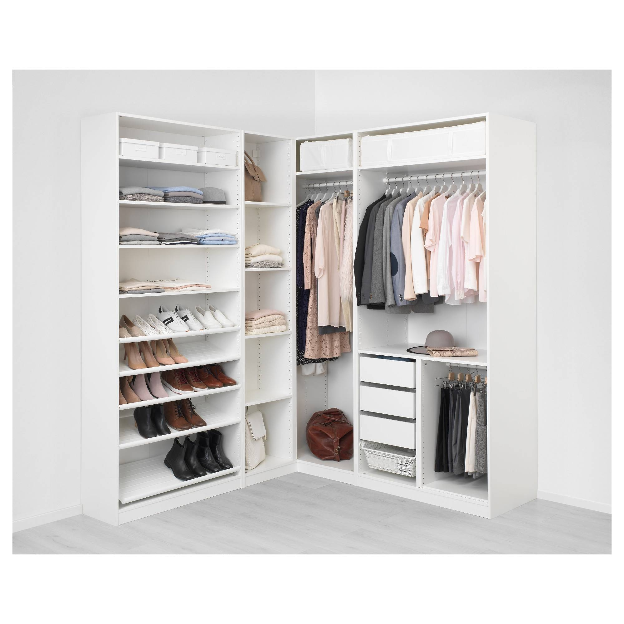 Pax Corner Wardrobe White Tyssedal/tyssedal Glass 210/188X236 Cm in White Corner Wardrobes (Image 4 of 15)