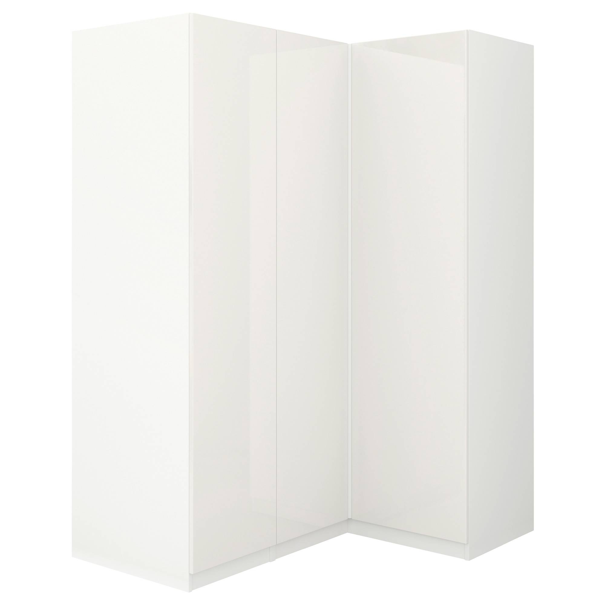 Pax Corner Wardrobe White/fardal High-Gloss/white 160/111X201 Cm regarding White Corner Wardrobes (Image 6 of 15)