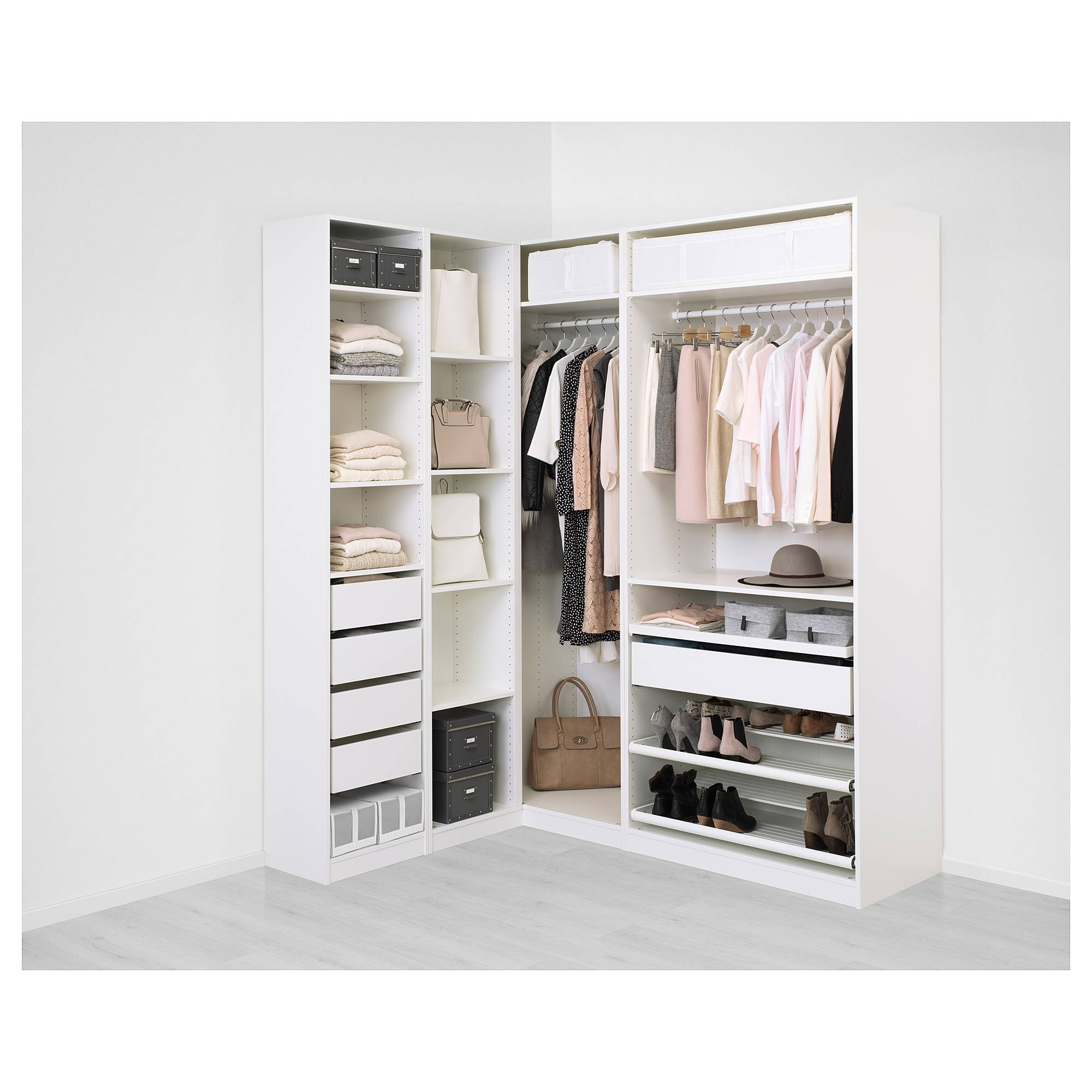 Pax Corner Wardrobe White/flisberget Light Beige 160/188X236 Cm - Ikea for White Corner Wardrobes (Image 10 of 15)