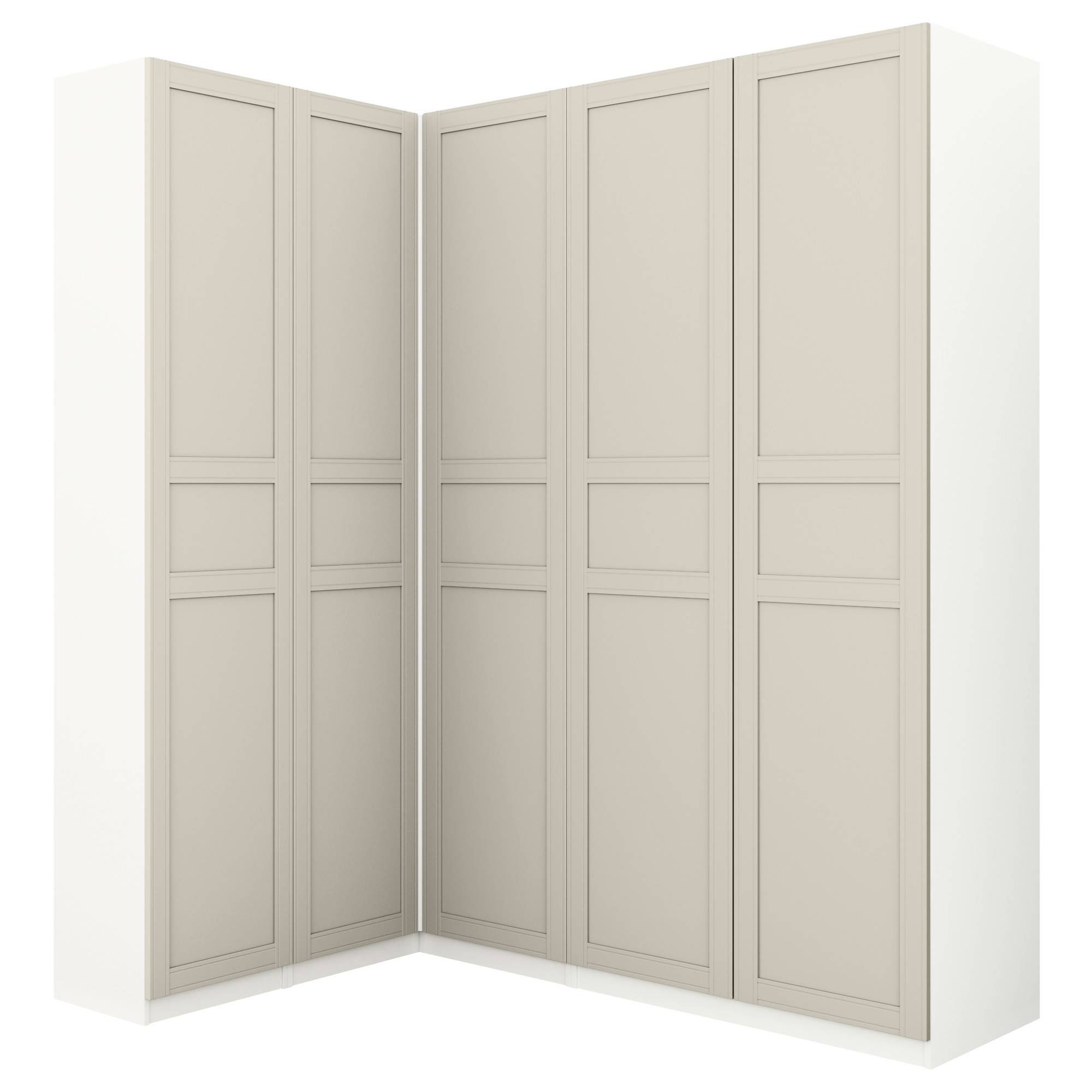 Pax Corner Wardrobe White/flisberget Light Beige 160/188X236 Cm - Ikea for White Corner Wardrobes (Image 9 of 15)