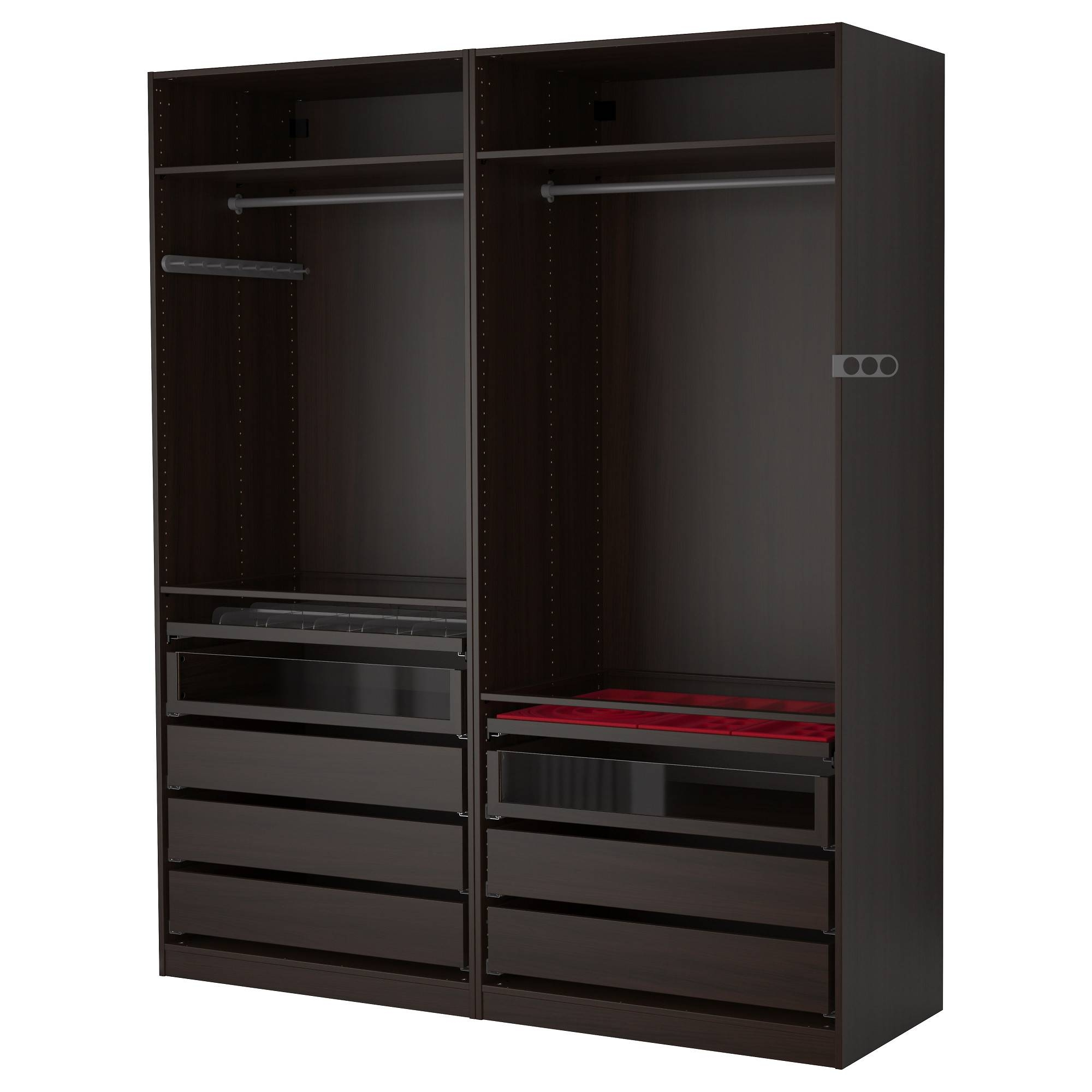 Pax Wardrobe Black-Brown 200X58X236 Cm - Ikea throughout Wardrobe Drawers and Shelves Ikea (Image 22 of 30)