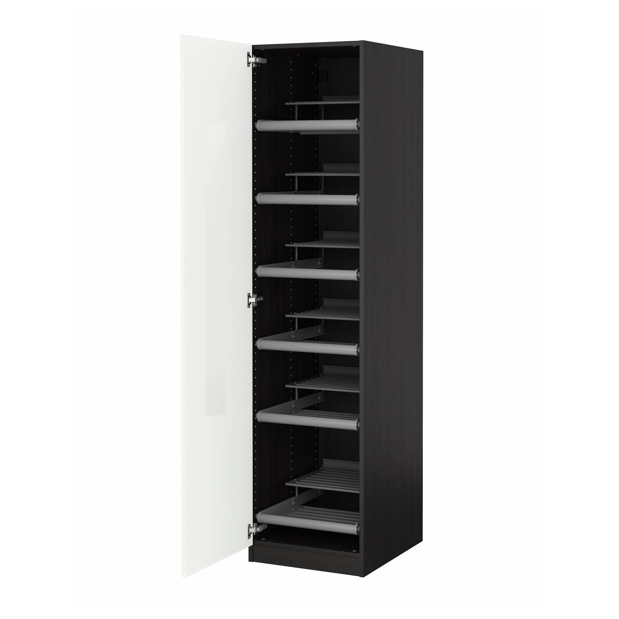 Pax Wardrobe Black-Brown/ballstad White 50X60X201 Cm - Ikea throughout Black Wardrobes (Image 8 of 15)
