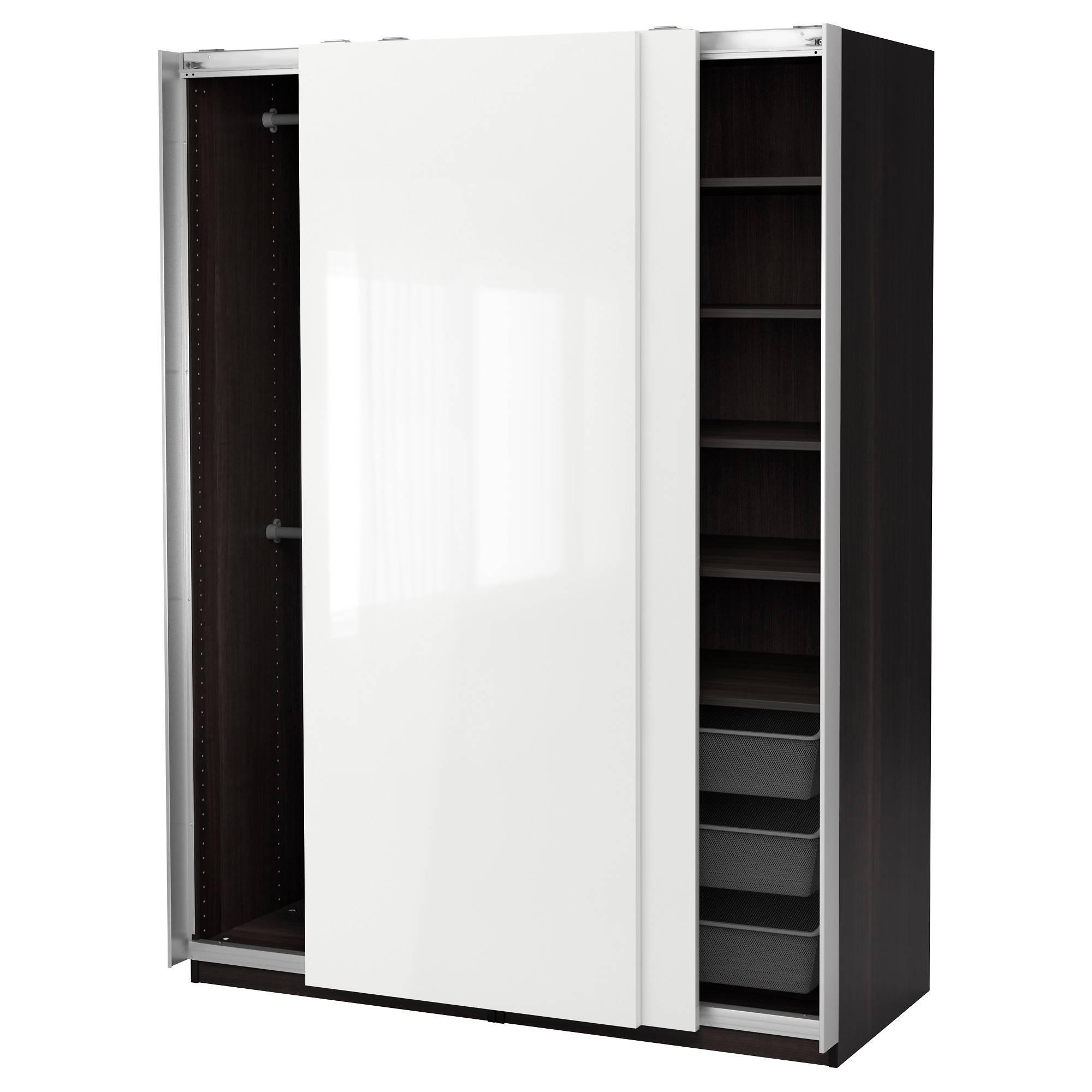 Pax Wardrobe Black-Brown/hasvik High-Gloss/white 150X66X201 Cm - Ikea throughout Black Gloss Wardrobes (Image 14 of 15)