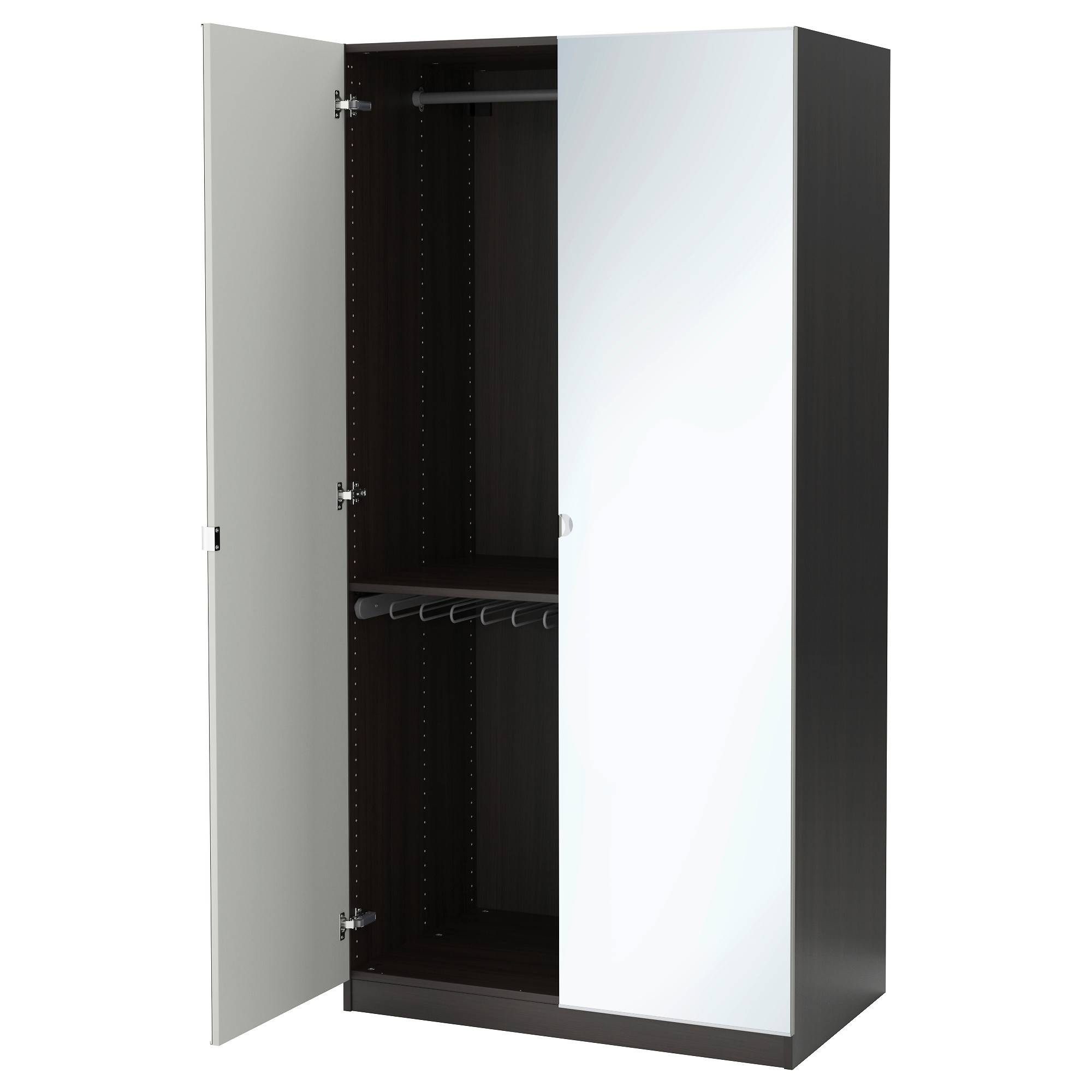 Pax Wardrobe Black-Brown/vikedal Mirror Glass 100X60X201 Cm - Ikea with Single White Wardrobes With Mirror (Image 6 of 15)