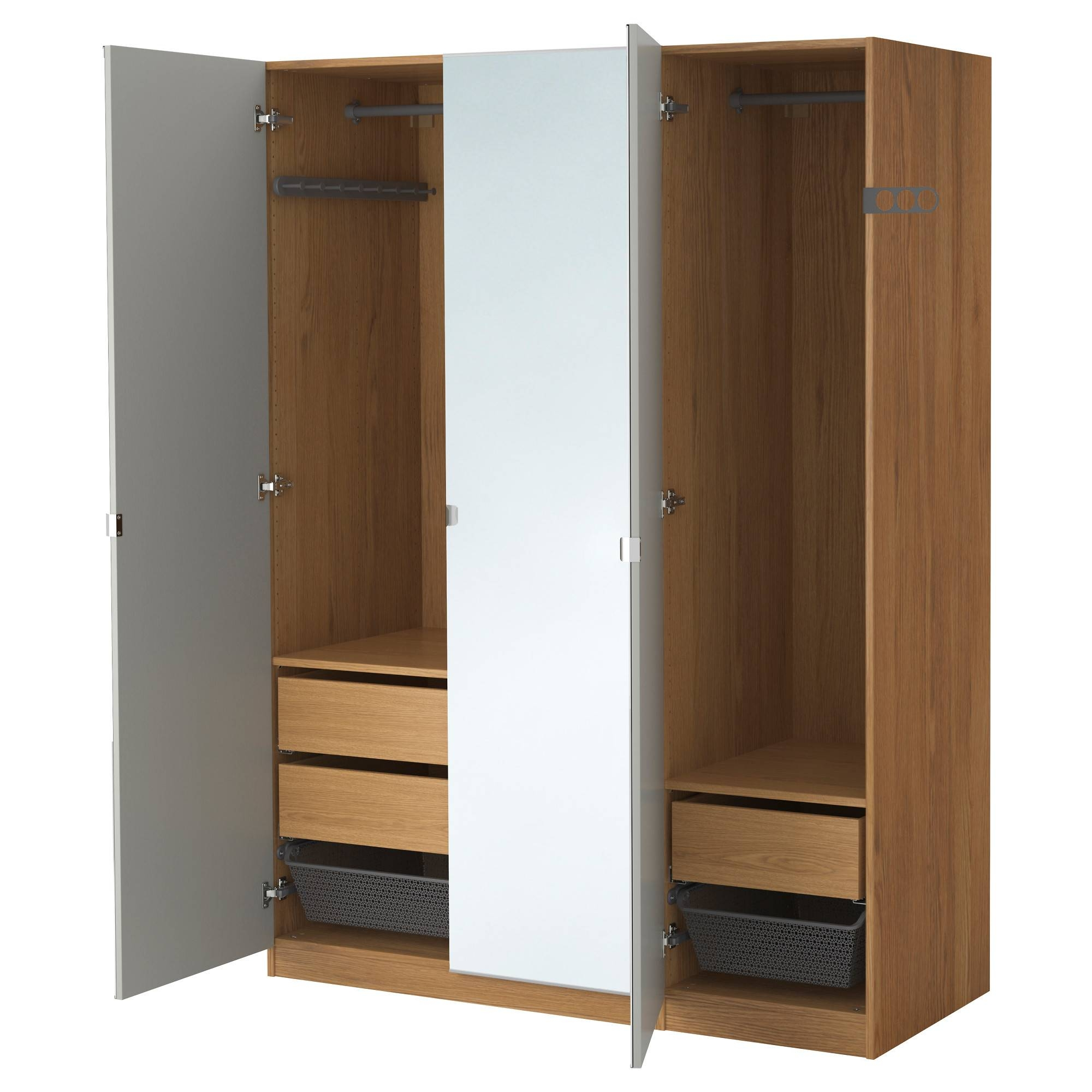 Pax Wardrobe Oak Effect/vikedal Mirror Glass 150X60X201 Cm - Ikea inside Oak Mirrored Wardrobes (Image 8 of 15)