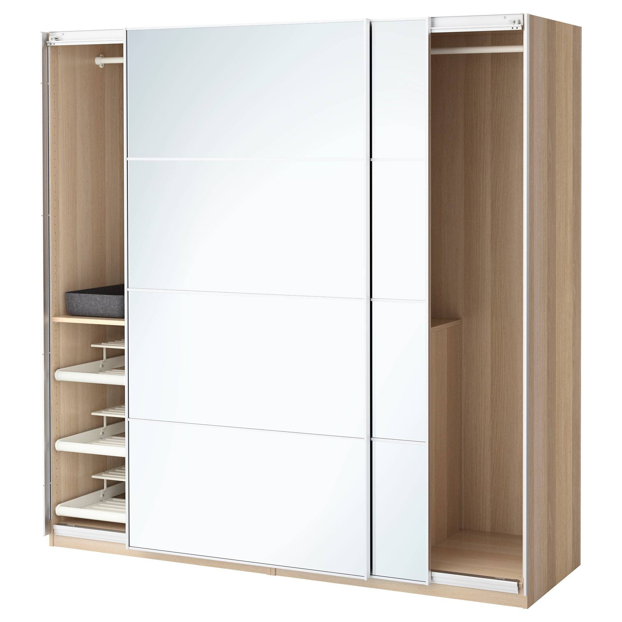 Pax Wardrobe White Stained Oak Effect/auli Mirror Glass 200X66X201 intended for Oak And White Wardrobes (Image 12 of 15)