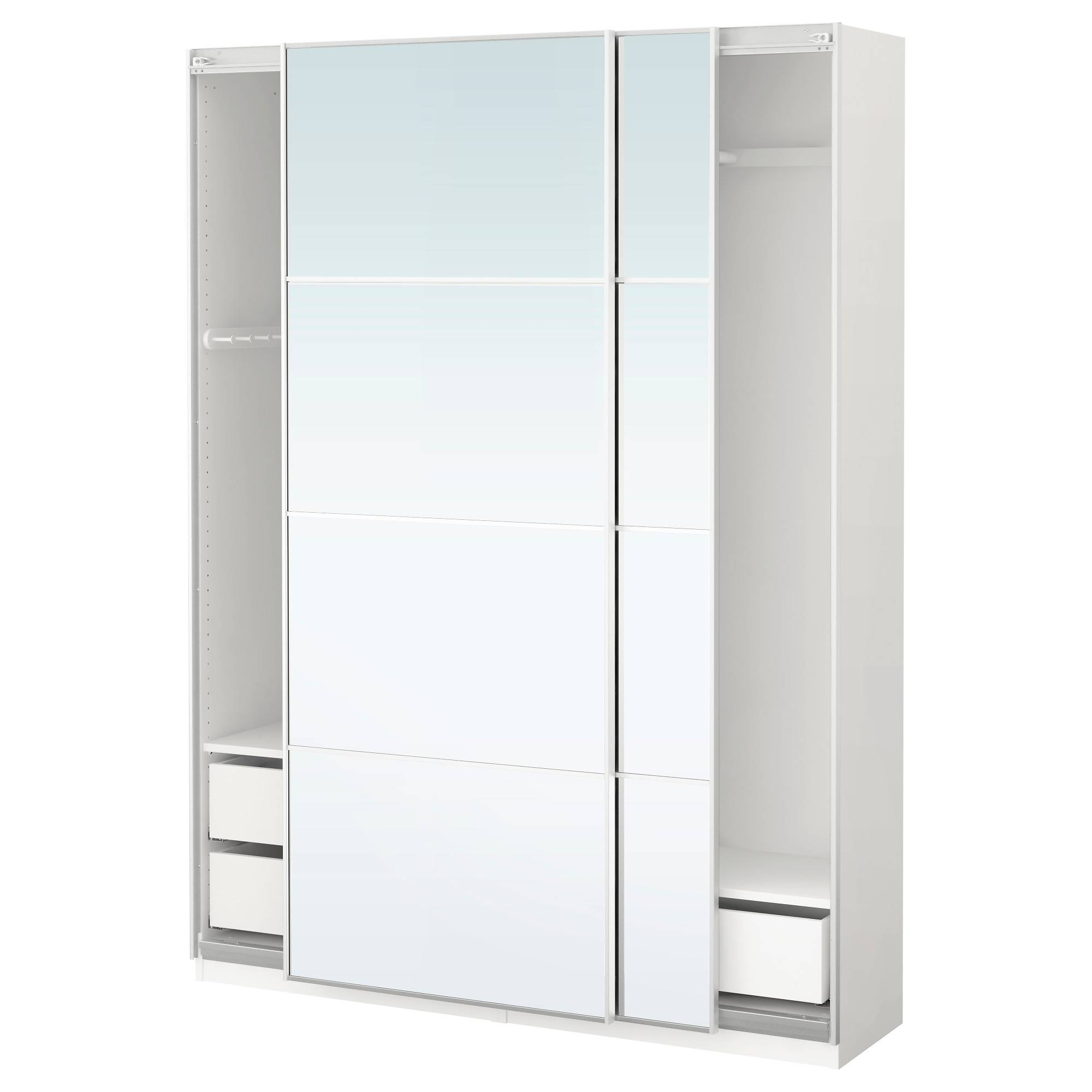 Pax Wardrobe White/auli Mirror Glass 150X44X201 Cm - Ikea throughout White Mirrored Wardrobes (Image 8 of 15)
