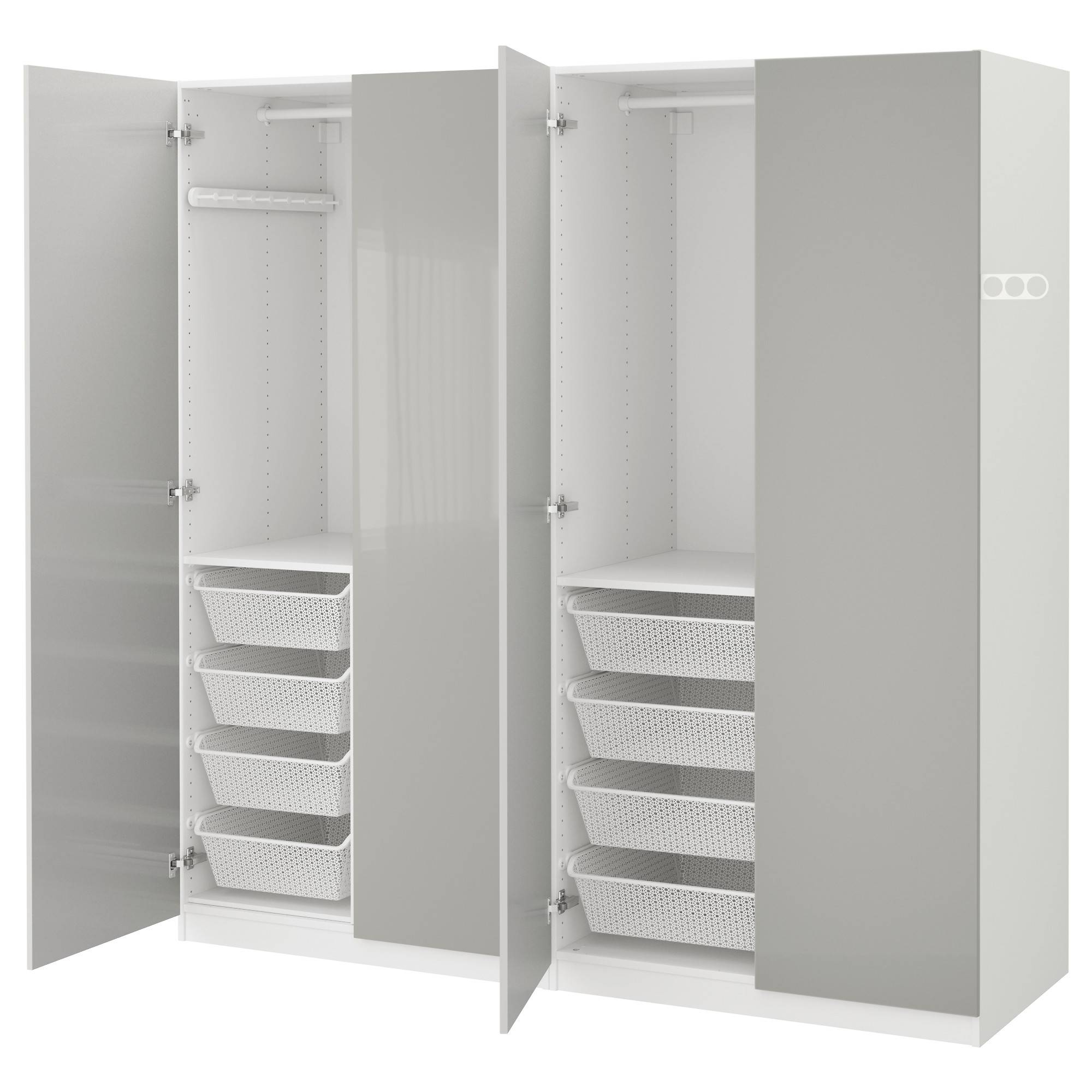 Pax Wardrobe White/fardal High-Gloss Light Grey 200X60X201 Cm - Ikea throughout Gloss Wardrobes (Image 8 of 15)