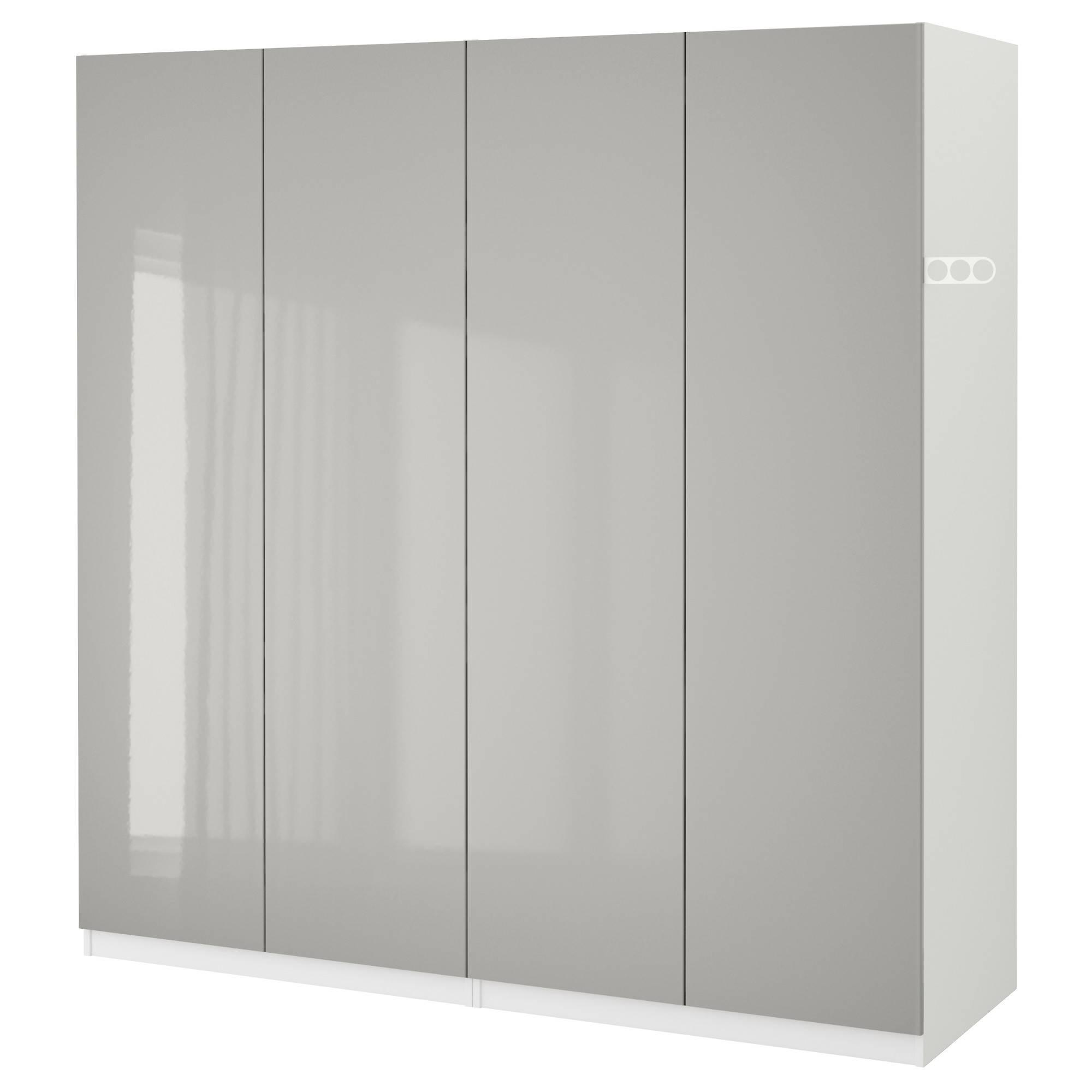 Pax Wardrobe White/fardal High-Gloss Light Grey 200X60X201 Cm - Ikea with regard to High Gloss White Wardrobes (Image 5 of 15)