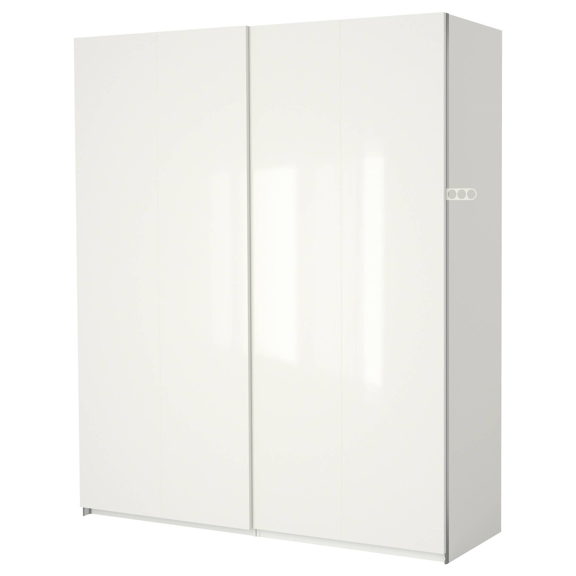 Pax Wardrobe White/hasvik High-Gloss/white 200X66X201 Cm - Ikea pertaining to High Gloss White Wardrobes (Image 6 of 15)