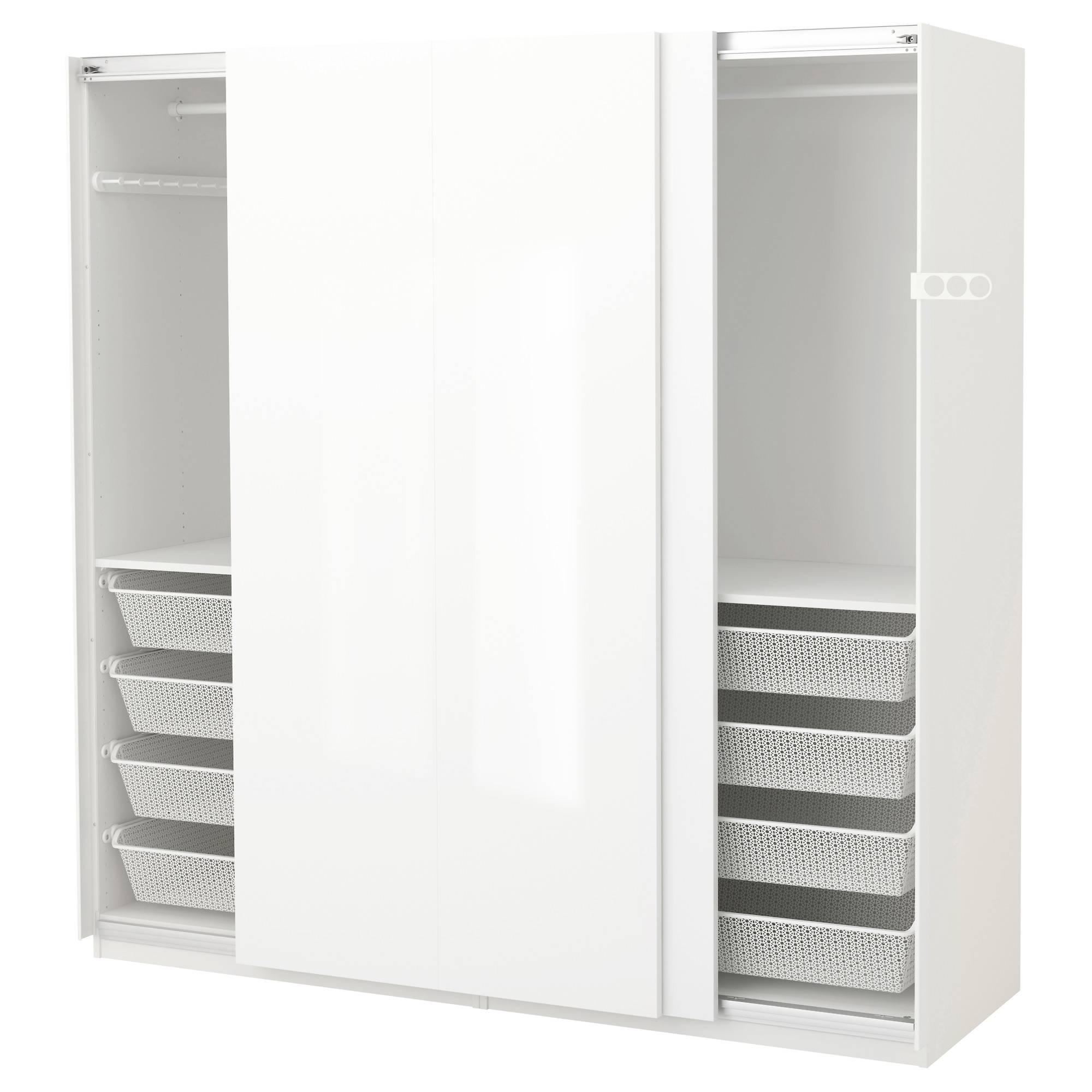 Pax Wardrobe White/hasvik High-Gloss/white 200X66X201 Cm - Ikea throughout High Gloss White Wardrobes (Image 7 of 15)