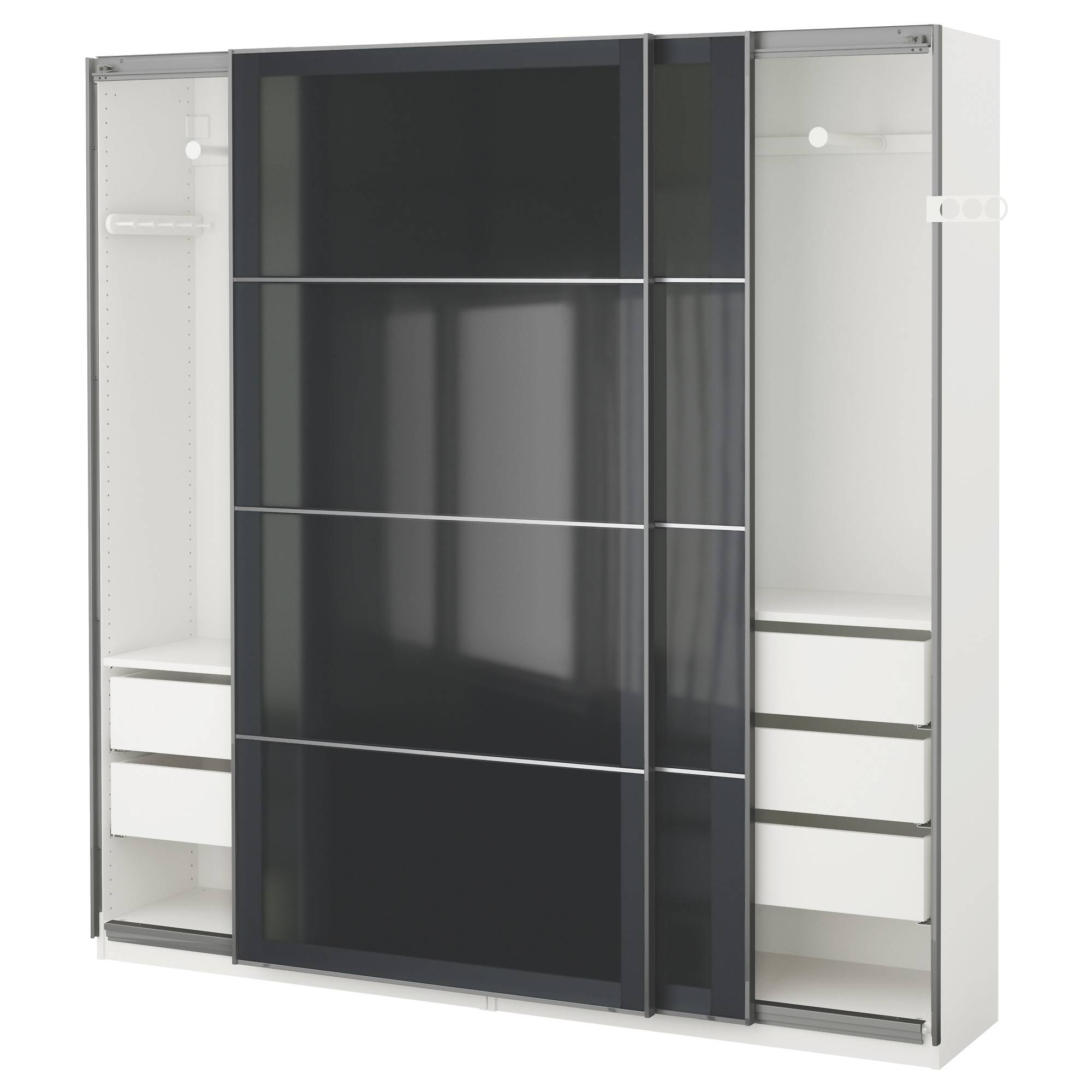 Pax Wardrobe White/uggdal Grey Glass 200X44X201 Cm - Ikea with 3 Door Black Wardrobes (Image 13 of 15)