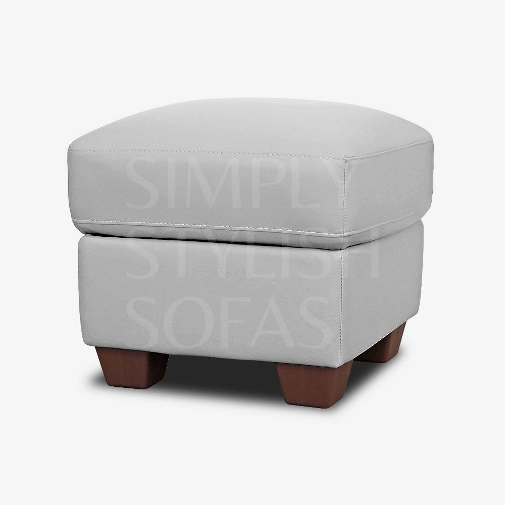 Pebble Grey Leather Footstool Storage Ottoman throughout Leather Footstools (Image 22 of 30)