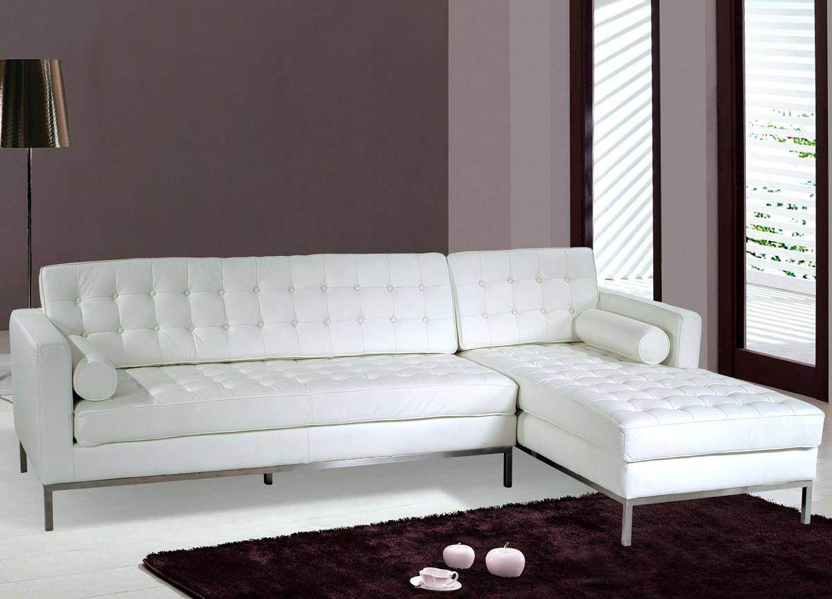 Pebble Microfiber & Faux Leather Small Sectional Sofa - S3Net with White Modern Sofas (Image 16 of 30)
