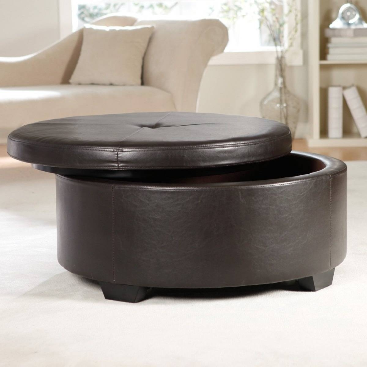 Perfect Coffee Table Storage Ottomans Underneath with Round Upholstered Coffee Tables (Image 22 of 30)