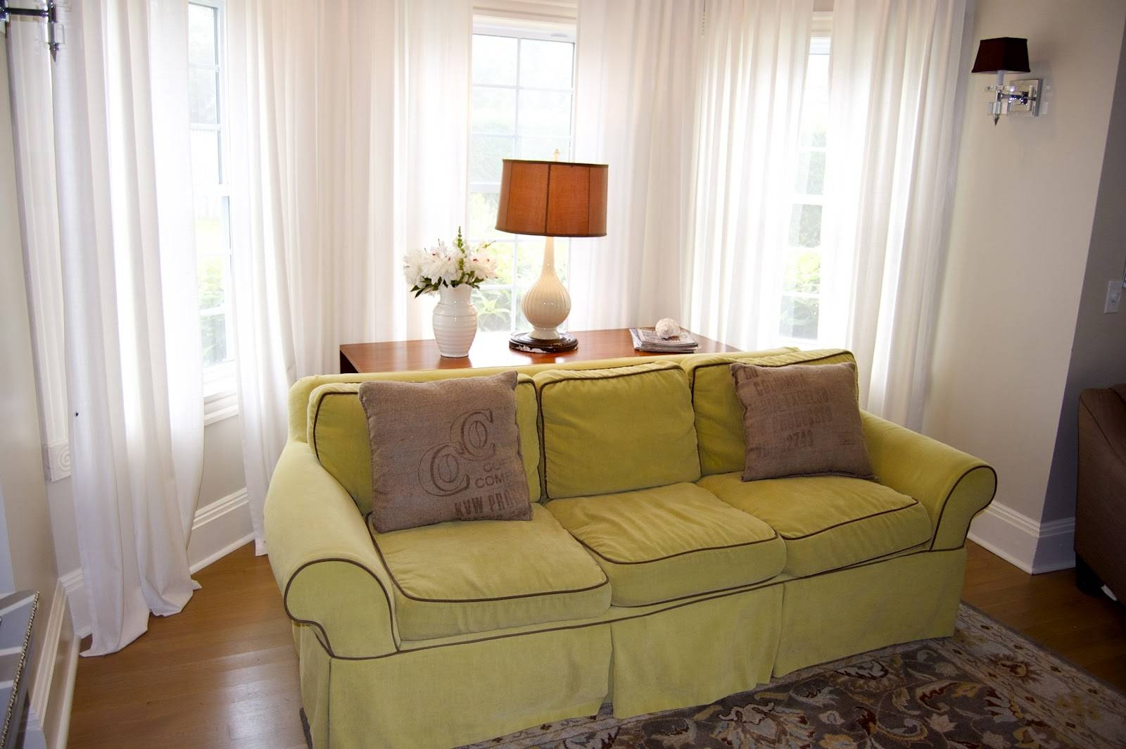 Perfect Living Room Filled With Pleasant Lime Green Sofa In Front within The Bay Sofas (Image 10 of 25)