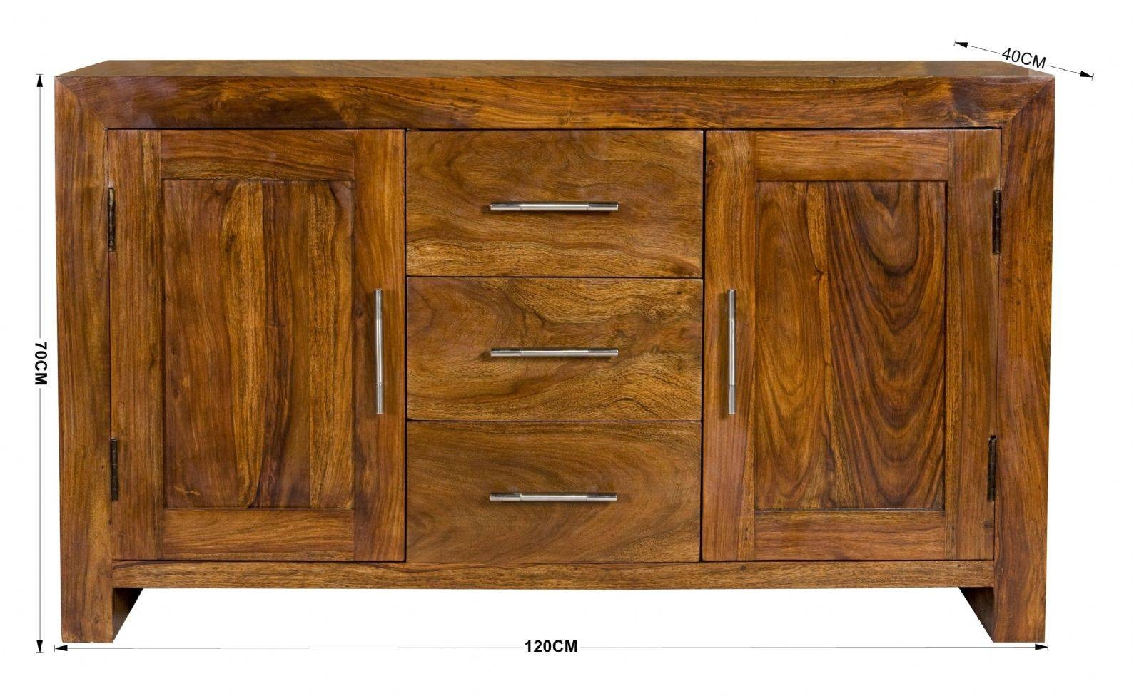 Petite Chunky 100% Solid Sheesham Wood Sideboard Cabinet with Sheesham Sideboards (Image 21 of 30)