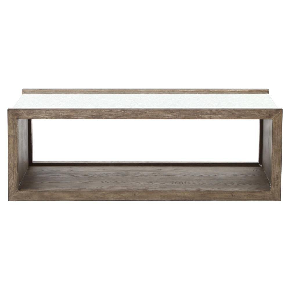 Philip Rustic Washed Grey Wood Antique Mirror Coffee Table | Kathy Within Antique Mirrored Coffee Tables (View 8 of 30)