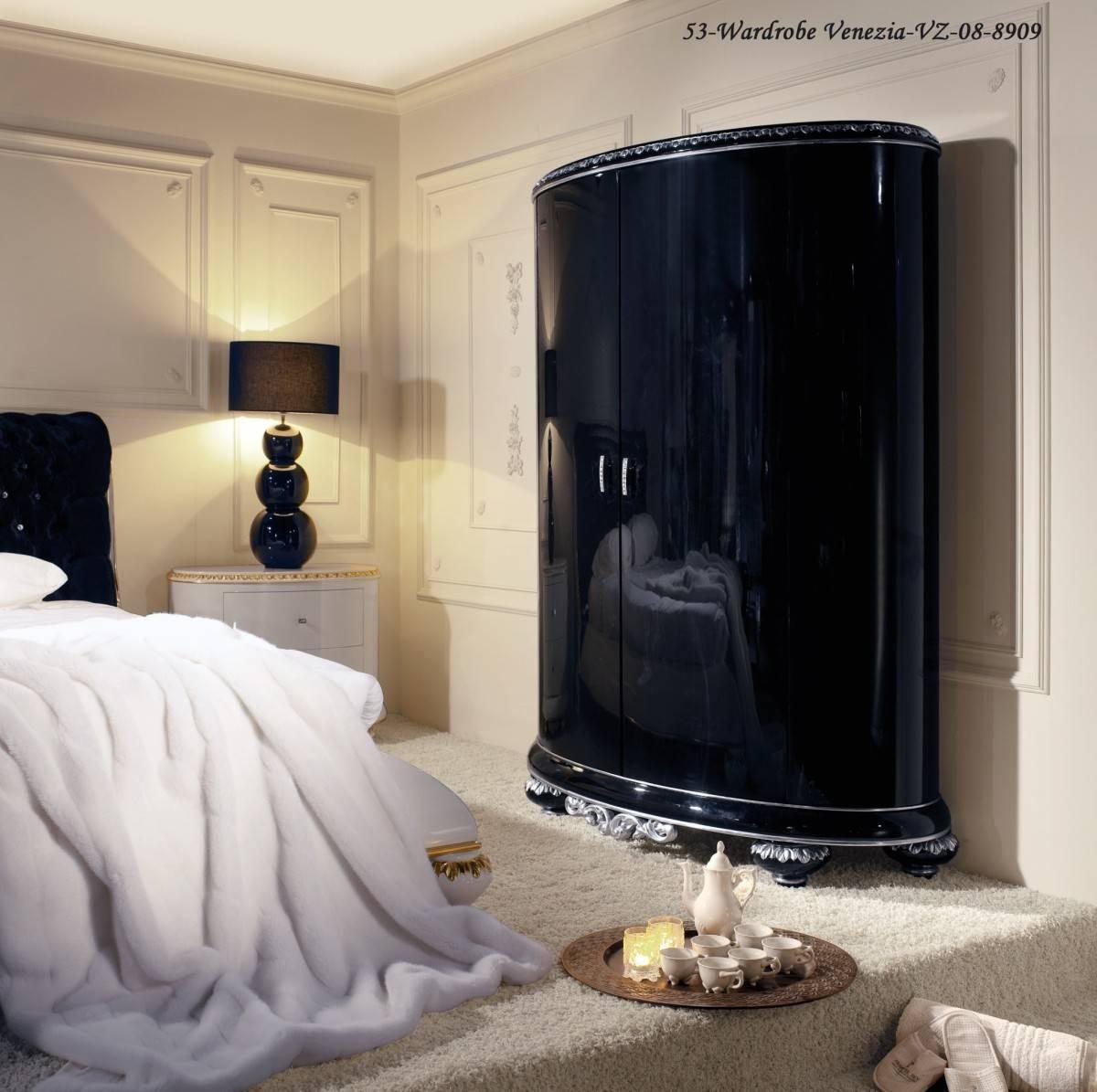 Piano Gloss Black Wardrobe & Diamante Handles, Luxury Furniture regarding High Gloss Black Wardrobes (Image 8 of 15)