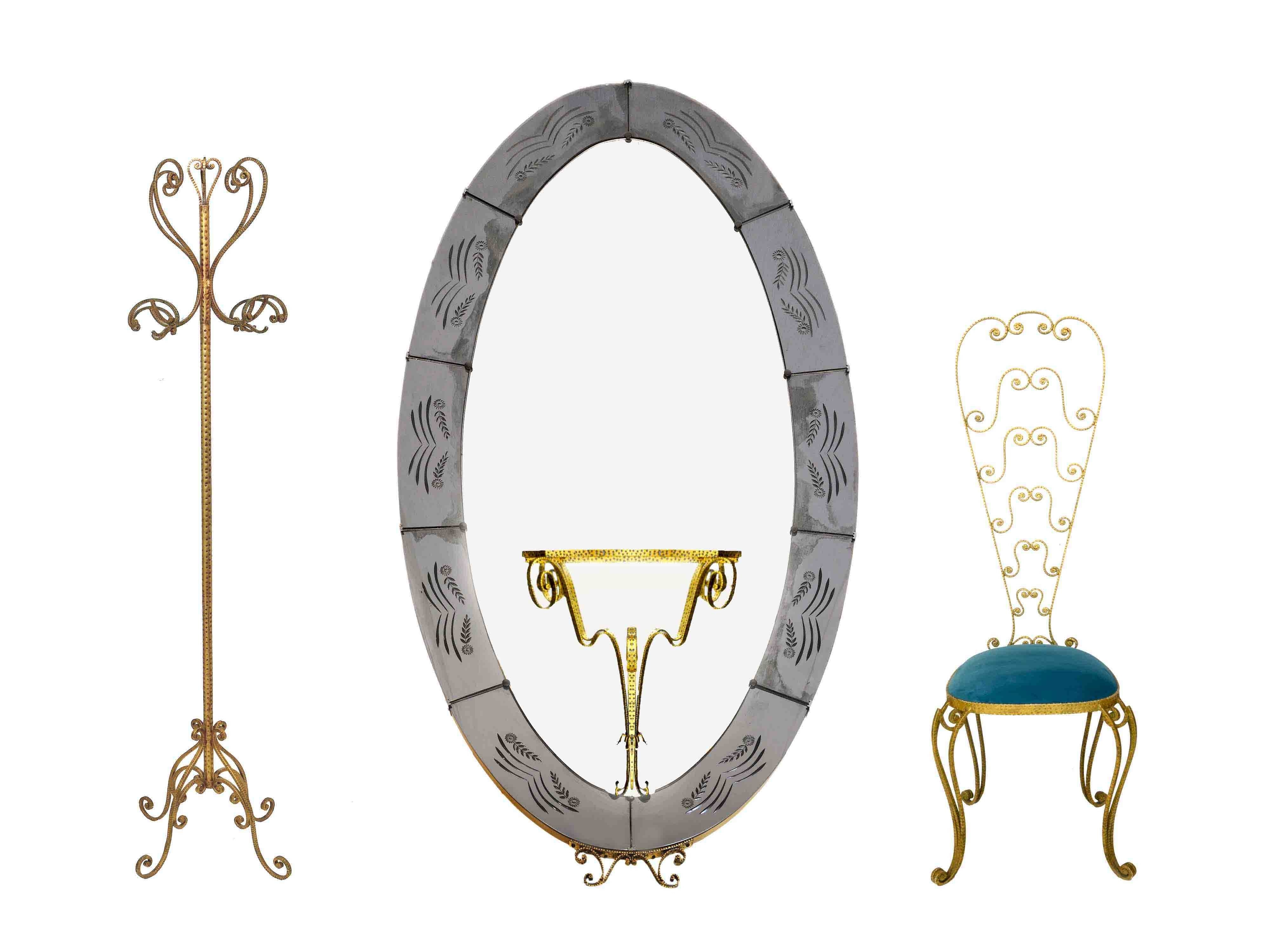 Pier Luigi Colli, Set Consisting Of A Coat Rack, A Full Length for Wrought Iron Full Length Mirrors (Image 19 of 25)
