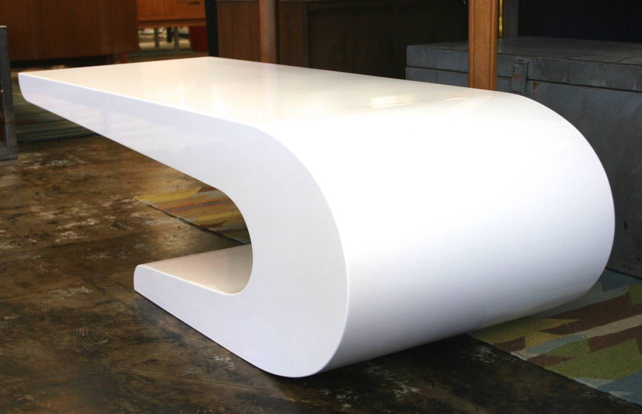 Pierre Cardin Style Coffee Table In White Lacquer, Circa 1970 At regarding Lacquer Coffee Tables (Image 25 of 30)