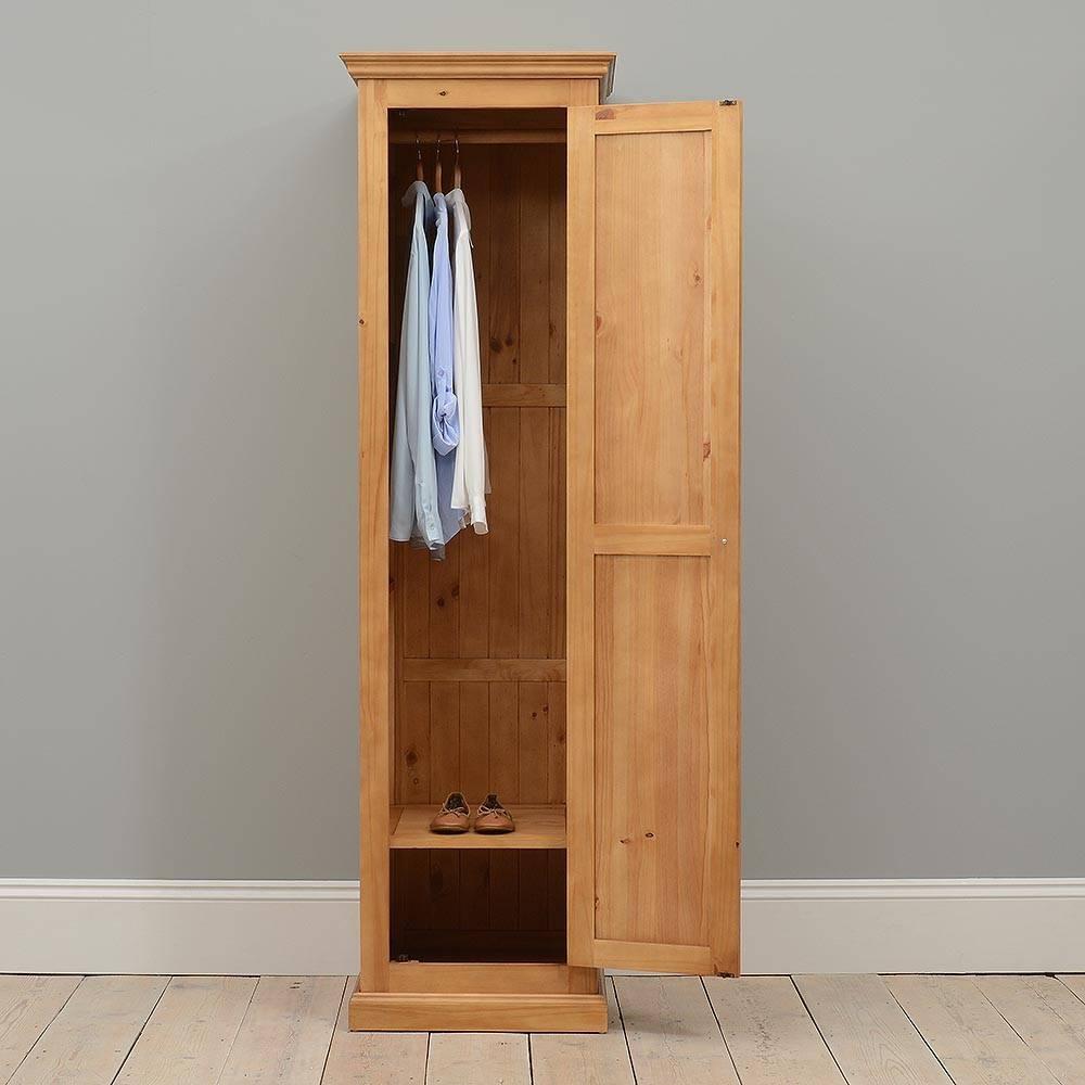 Pine Wood Wardrobes, Cheshire Pine Single Full Hanging Wardrobe for Single Wardrobes (Image 6 of 15)