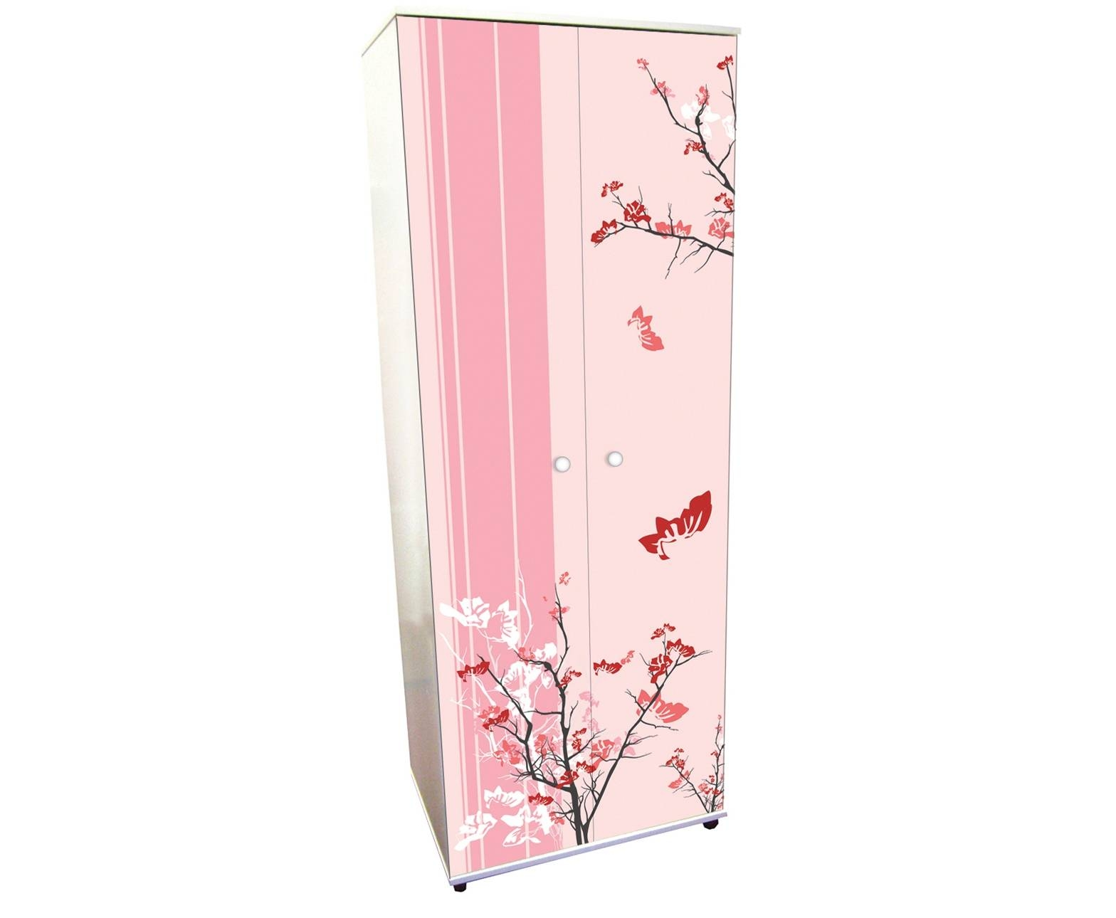 Pink Blossom Wooden Wardrobe With Double Doors Of Magnetizing Idea regarding Childrens Pink Wardrobes (Image 21 of 30)