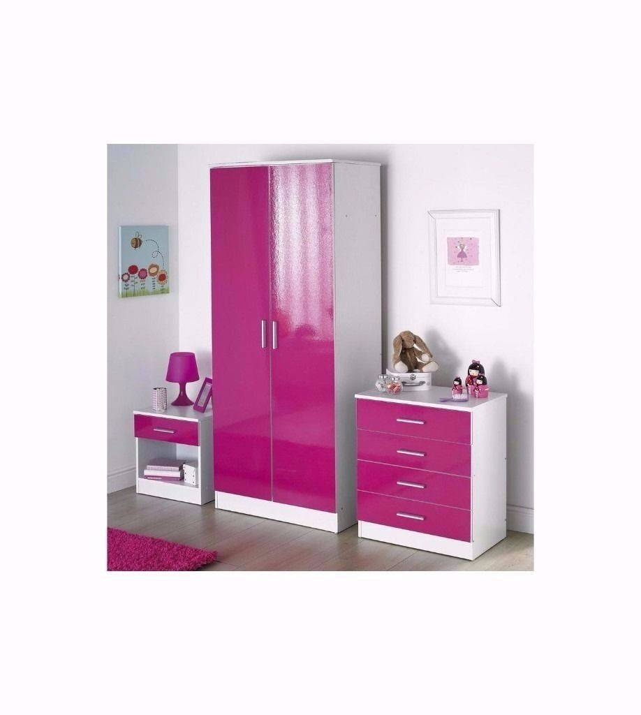 Pink High Gloss 3 Piece Bedroom Set With 2-Door Wardrobe , 4 pertaining to Pink High Gloss Wardrobes (Image 12 of 15)