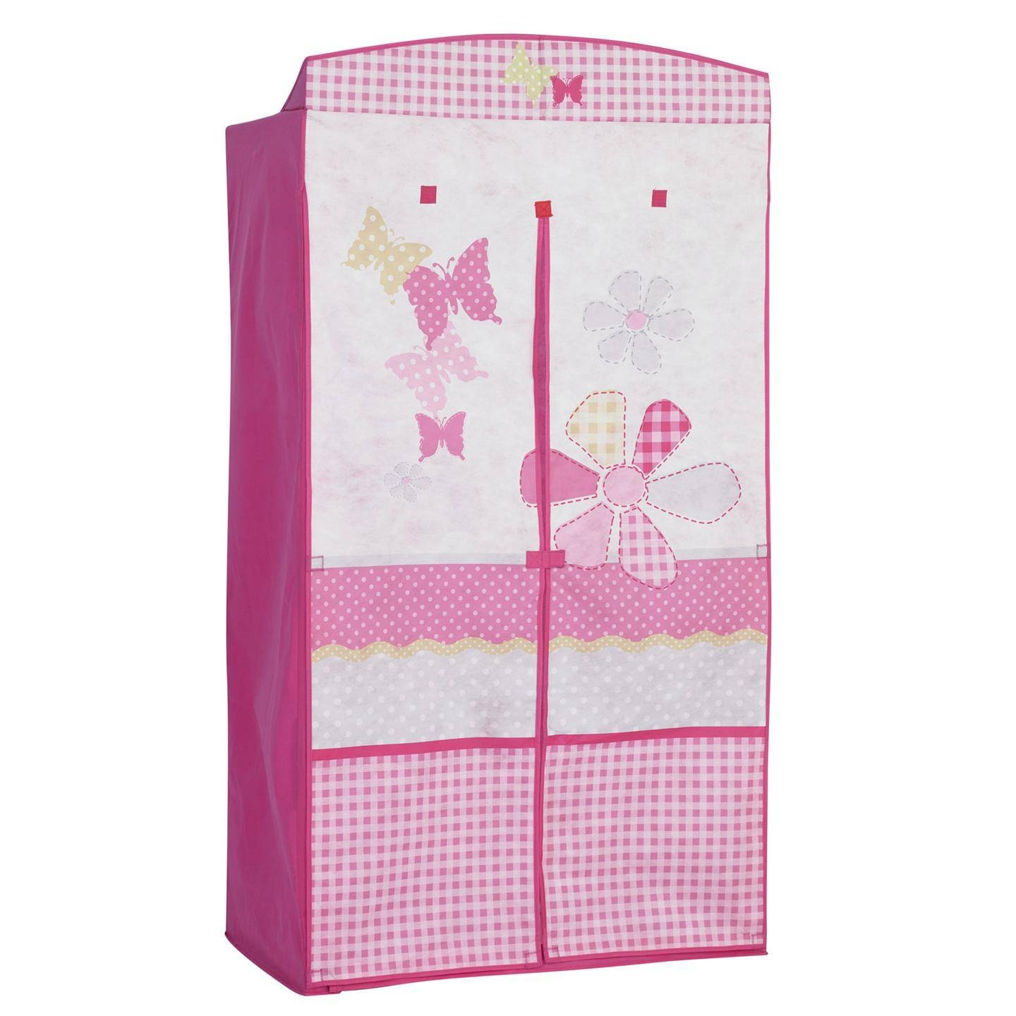 Pink White Butterfly Fabric Wardrobe With Double Door Of pertaining to Childrens Pink Wardrobes (Image 23 of 30)