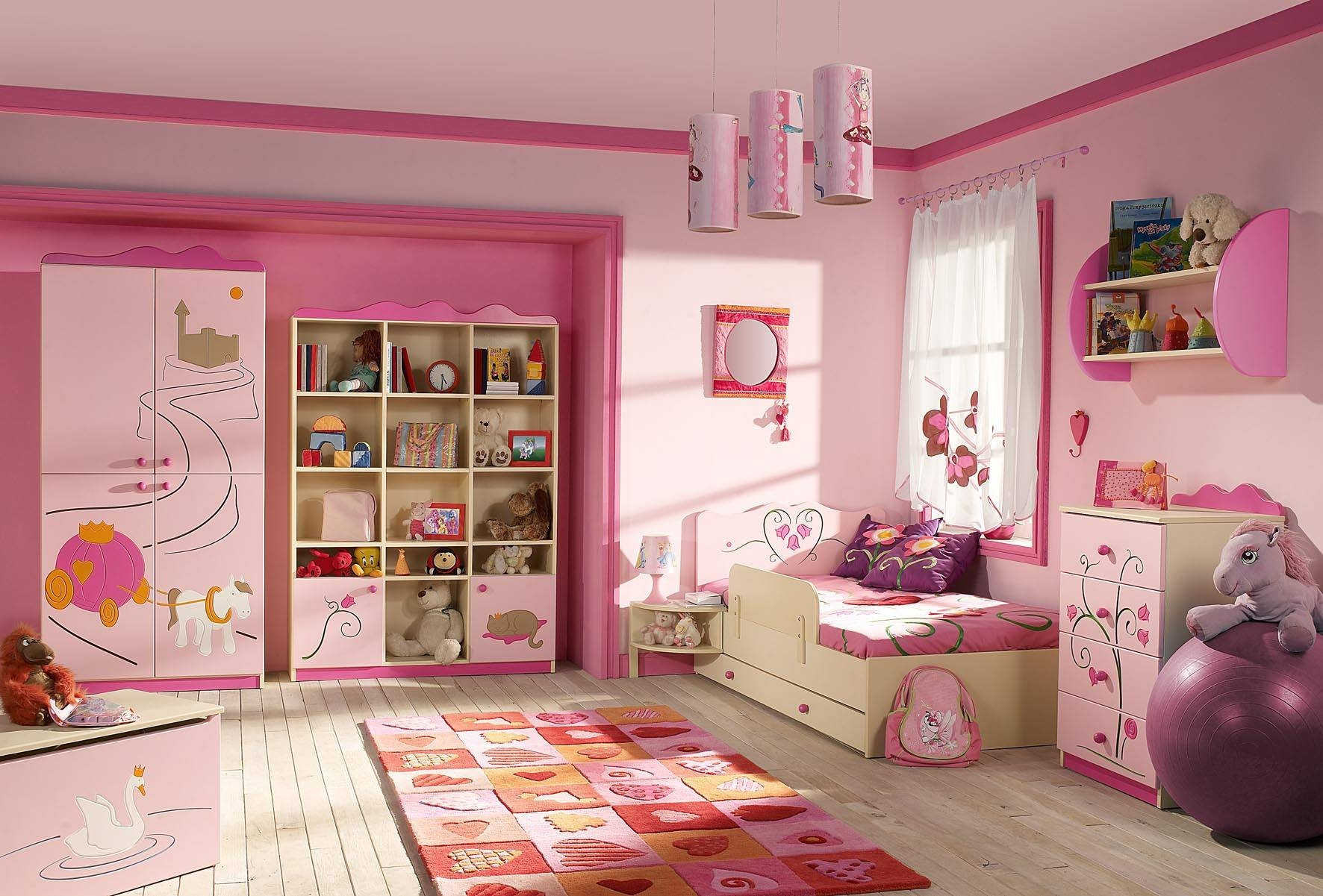 Pink Wooden Wardrobe Next To Pink Wooden Shelves Connected regarding Childrens Pink Wardrobes (Image 24 of 30)