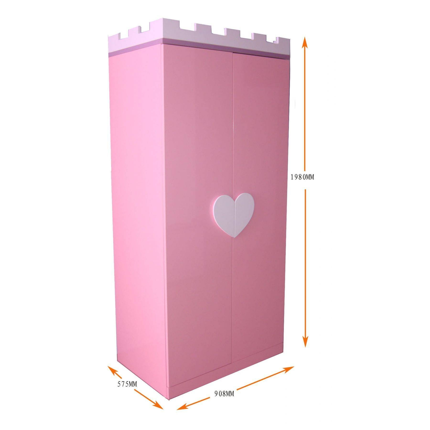 Pink Wooden Wardrobe With Double Door And White Love Handles Of intended for Childrens Pink Wardrobes (Image 25 of 30)