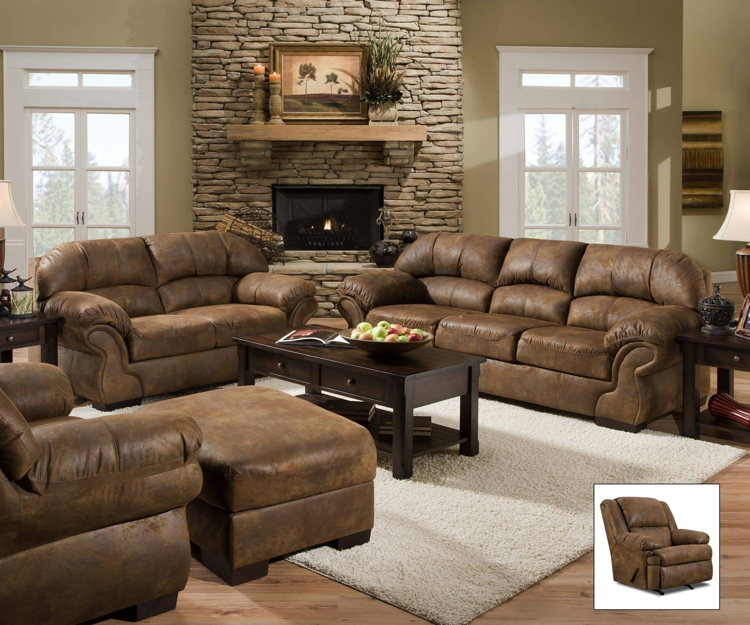 Pinto Tobacco Faux Leather Sofasimmons with regard to Simmons Sectional Sofas (Image 7 of 30)