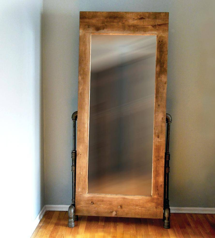 Pipe Legs Wood Frame Mirrorwooden Framed Mirrors Ikea Oak Mirror regarding Large Oak Framed Mirrors (Image 22 of 25)