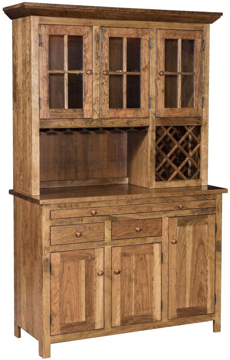Pleasant Hill Hutch And Wine Rack - Countryside Amish Furniture intended for Oak Sideboards With Wine Rack (Image 13 of 30)