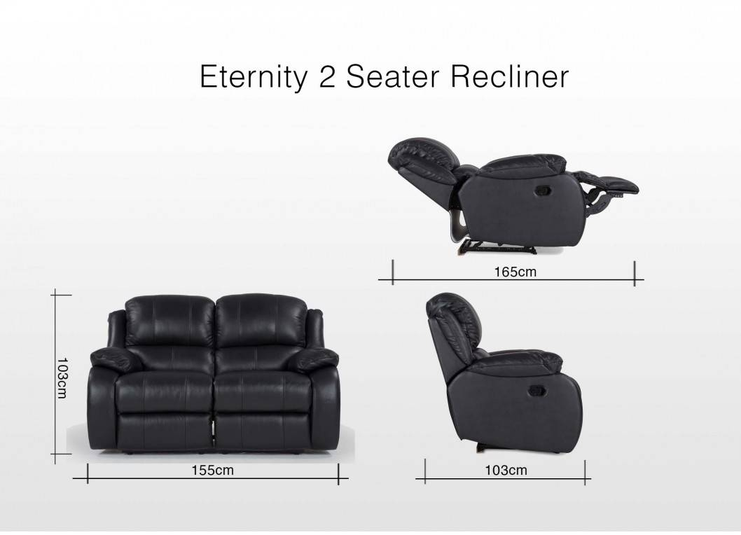 Plush Black Leather Recliner 2 Seater Sofa - Eternity in 2 Seater Recliner Leather Sofas (Image 19 of 30)